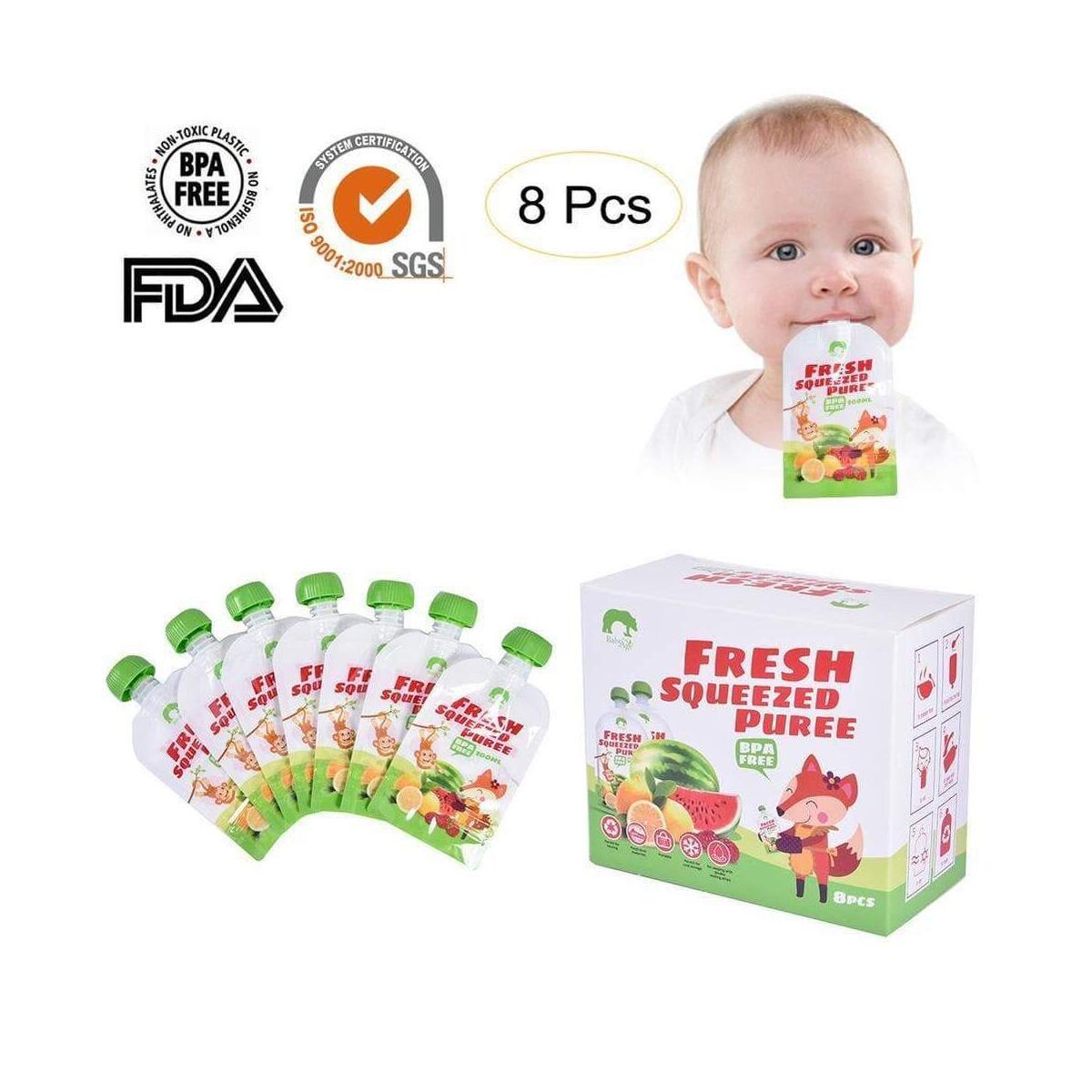 BPA Free Reusable Fresh Infant Double Zipper Food Pouches Animal 8 Pack Kids Storage Bag Breast Milk Bag Refillable Infant Feeding Bags