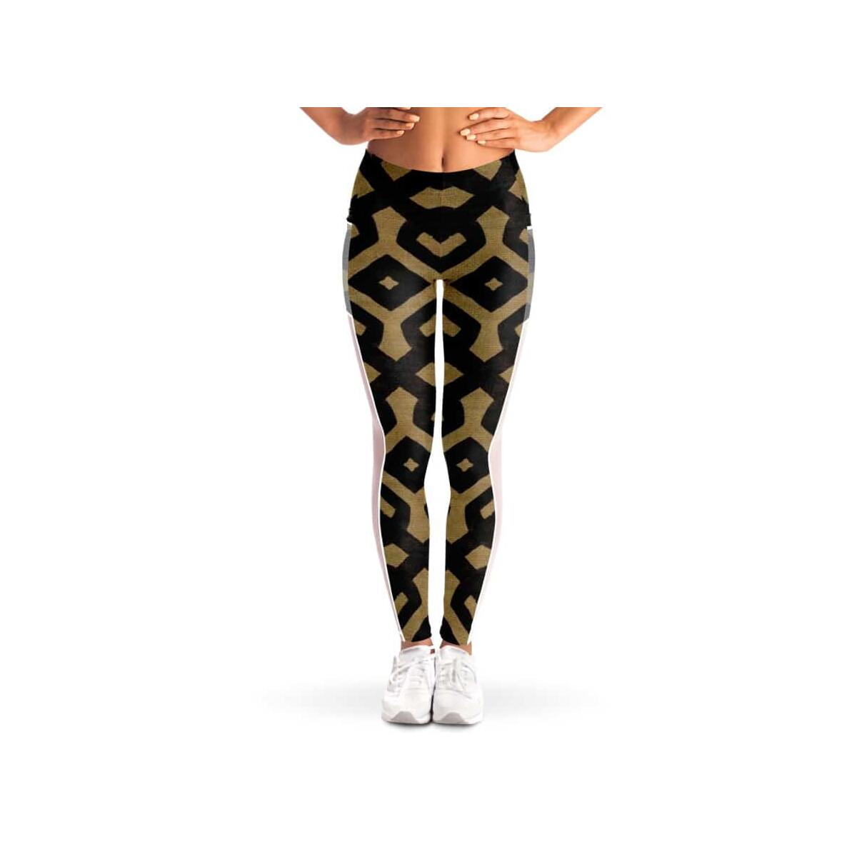 Brown Black Bogolan Mesh Pocket Legging
