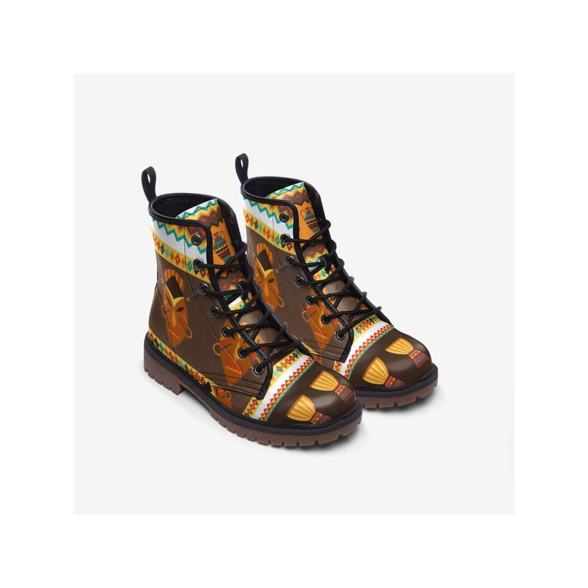 African Djembe Masks Leather Lightweight boots MT, 10 Men / Black