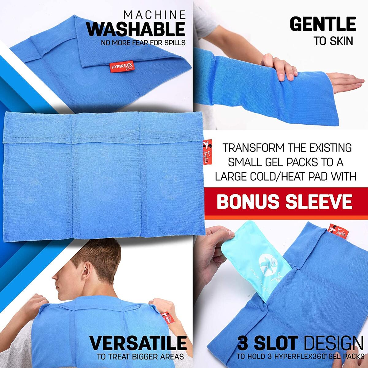 TOUGHITO Hot & Cold Knee Ice Pack Wrap – Compression Knee Wrap for Knee Pain, Swelling, and Recovery with 3 Reusable Hot/Cold Gel Packs with Ice Pack Sleeve – Comfy Ice Pack Wrap with Knee Support