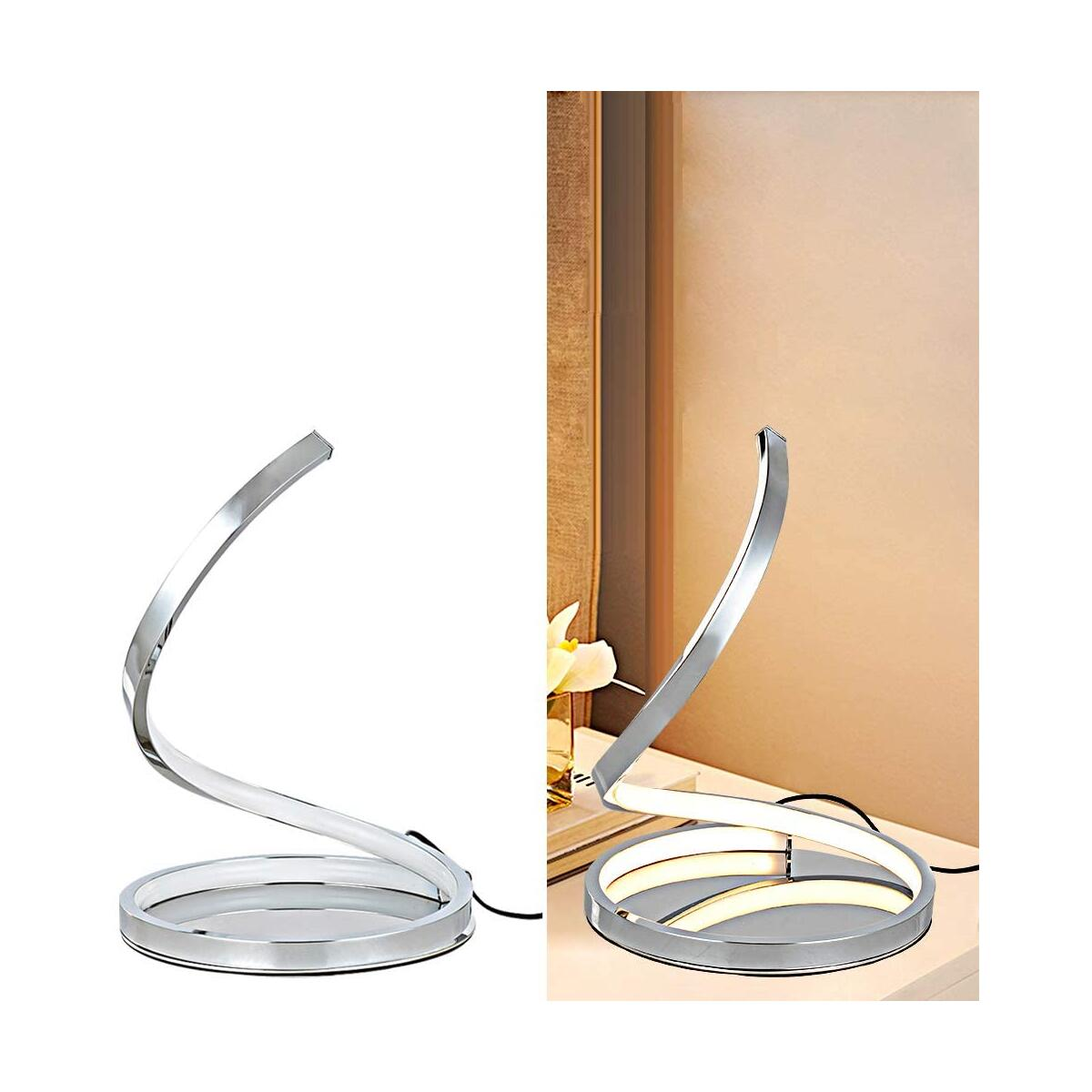 KARMIQI Dimmable LED Table Lamp for Bedroom, 7W Touch Control Table Lamp, Modern Spiral Bedside Nightstand Lamp for Living Room