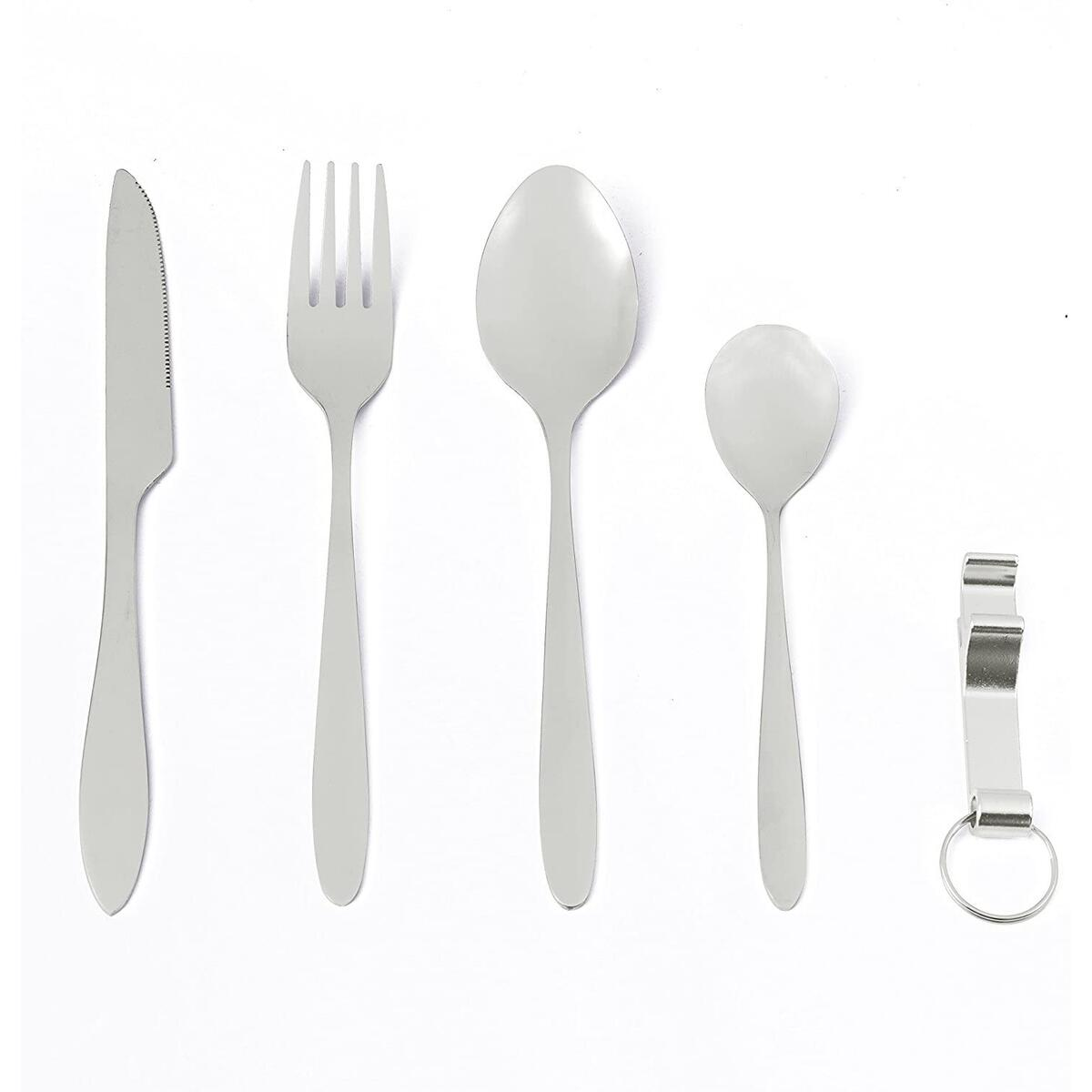 Camping Cutlery Utensils and Travel Cutlery made of Stainless Steel with Neoprene Bag Camping Flatware