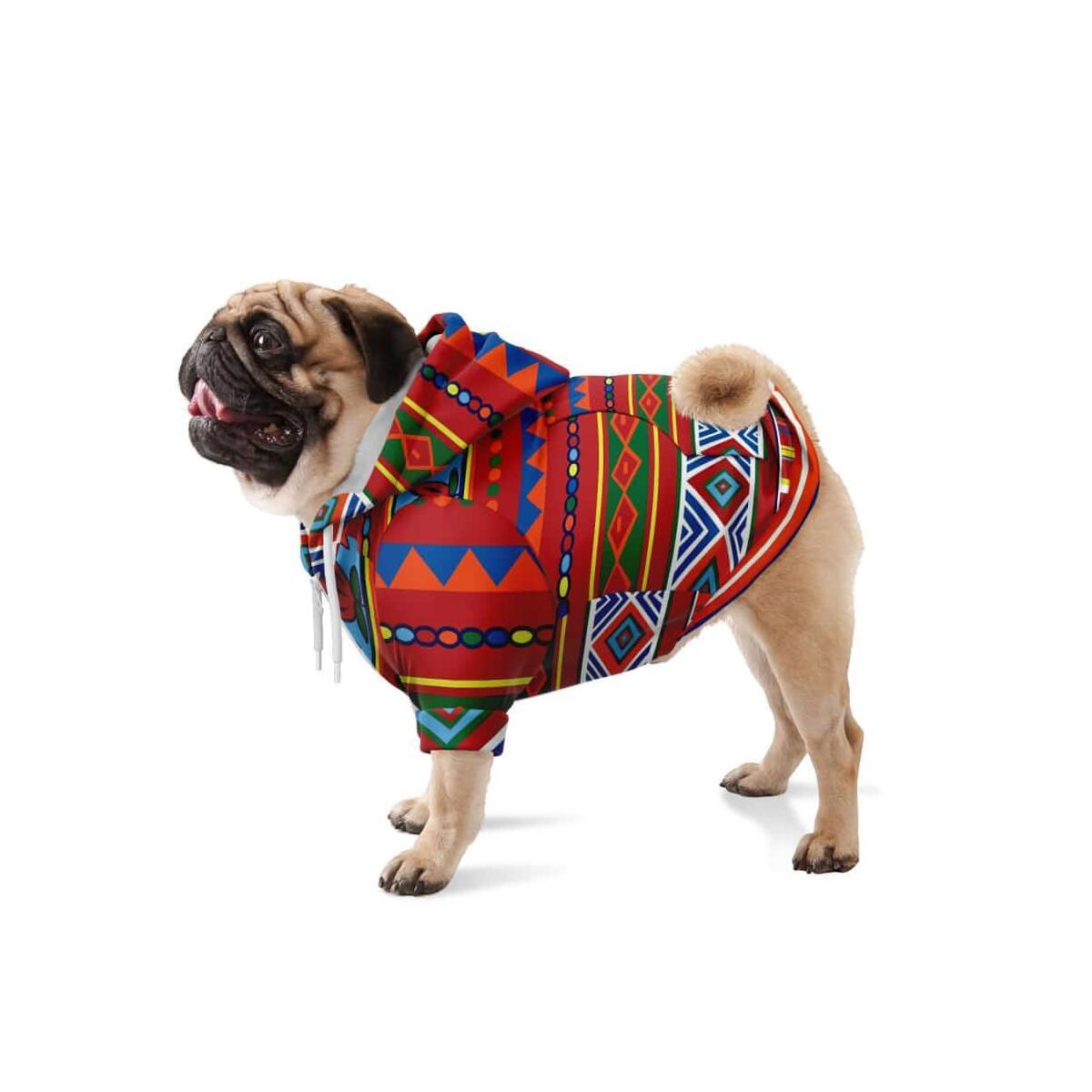 African Lotus Dog Zip-Up Hoodie, M