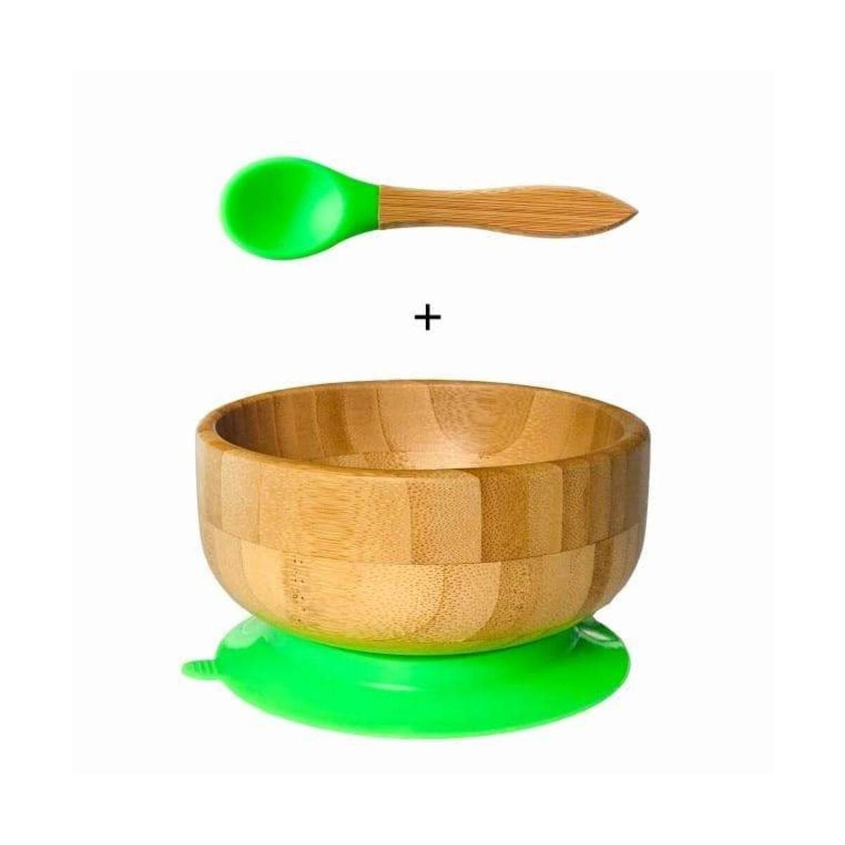 Bamboo Feeding Suction Baby Bowl and Spoon Set