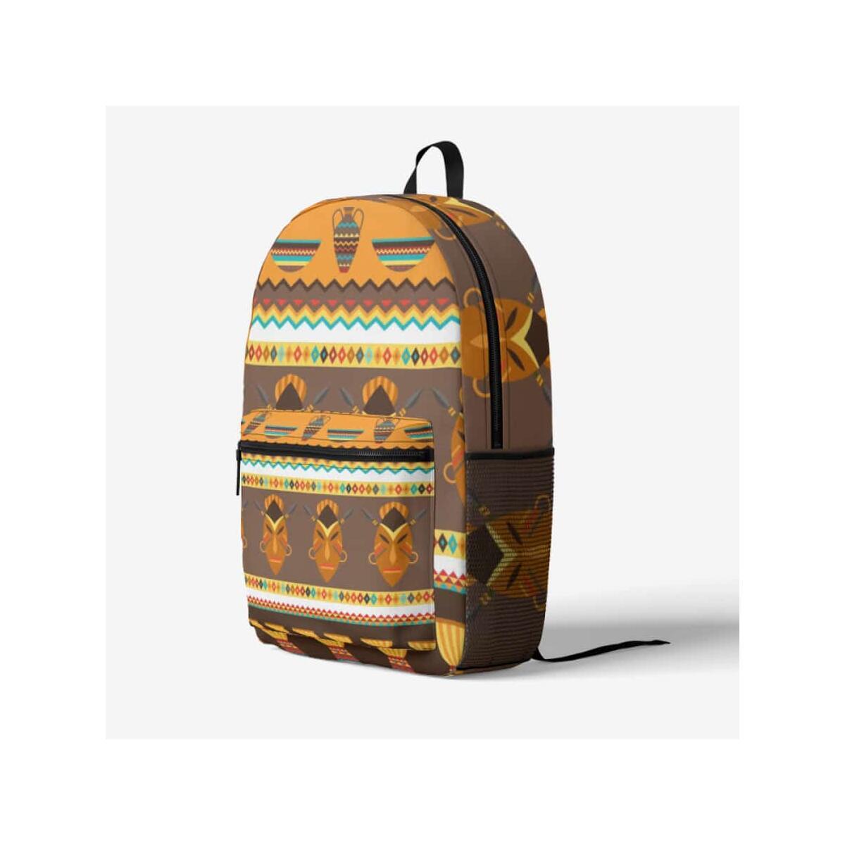 African Djembe Masks Trendy Backpack, Black