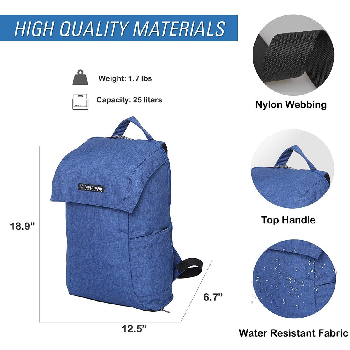 SIMPLECARRY Mattan2 Office College School Travel Hiking Backpack – Daypack for Camping, Running, Climbing– Water Resistant and Durable - Perfect for Men and Women (Nevy Blue)