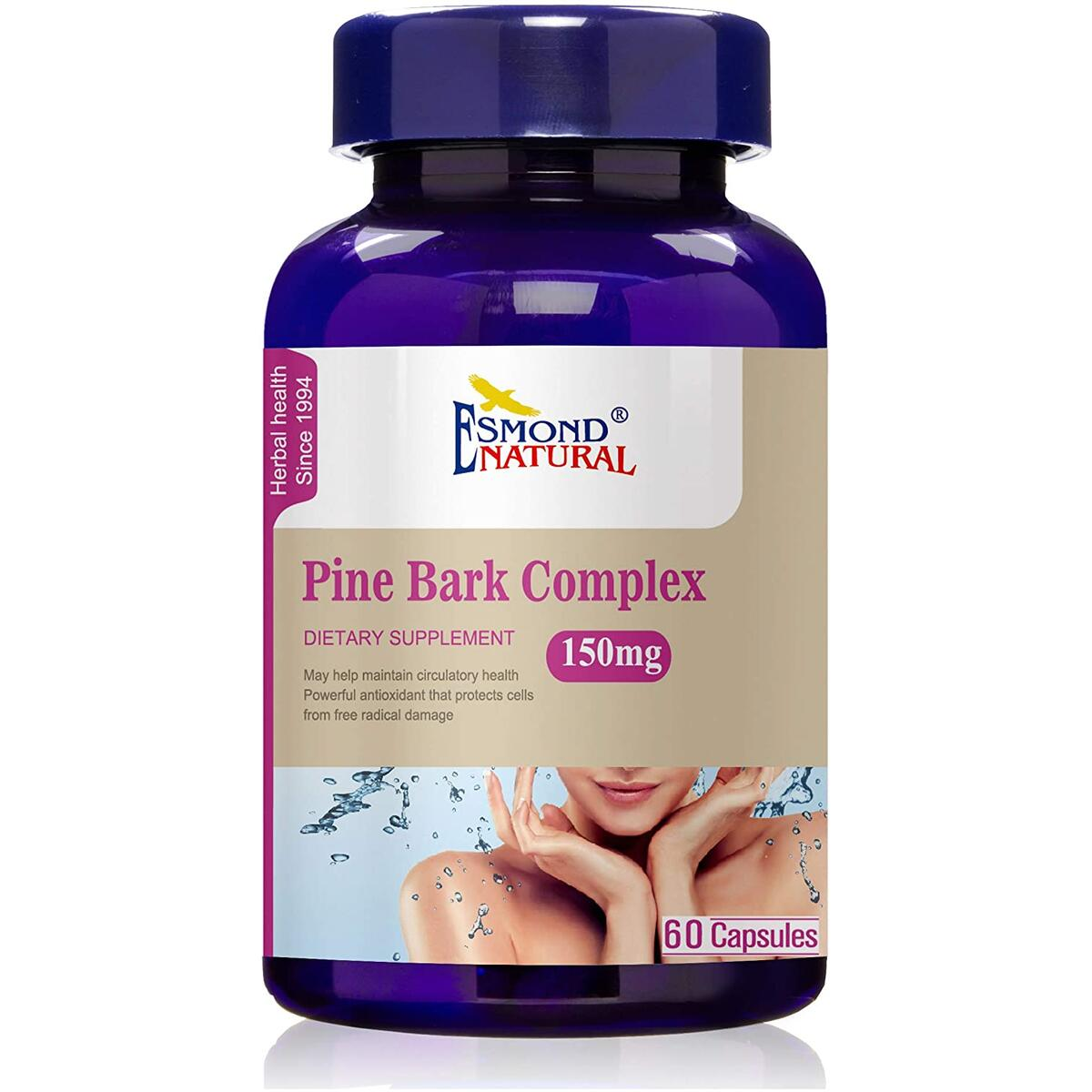 (5 Count, 25% Off) Esmond Natural: Pine Bark Complex (Antioxidants to Protect Cells from Free Radical Damage), GMP, Natural Product Assn Certified, Made in USA-150mg, 300 Capsules