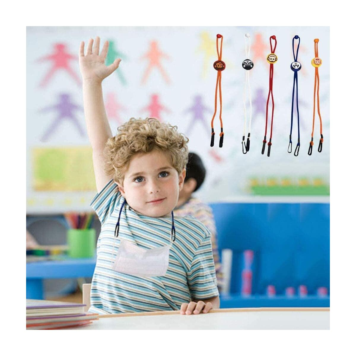 5PCS for Kids Cute Adjustable Length M.a.s.k Lanyard Handy Convenient Safety Cover Holder Hanger Comfortable Around The Neck Rest Ear Saver for School Outdoor Sport (5pcs, Multicolor)