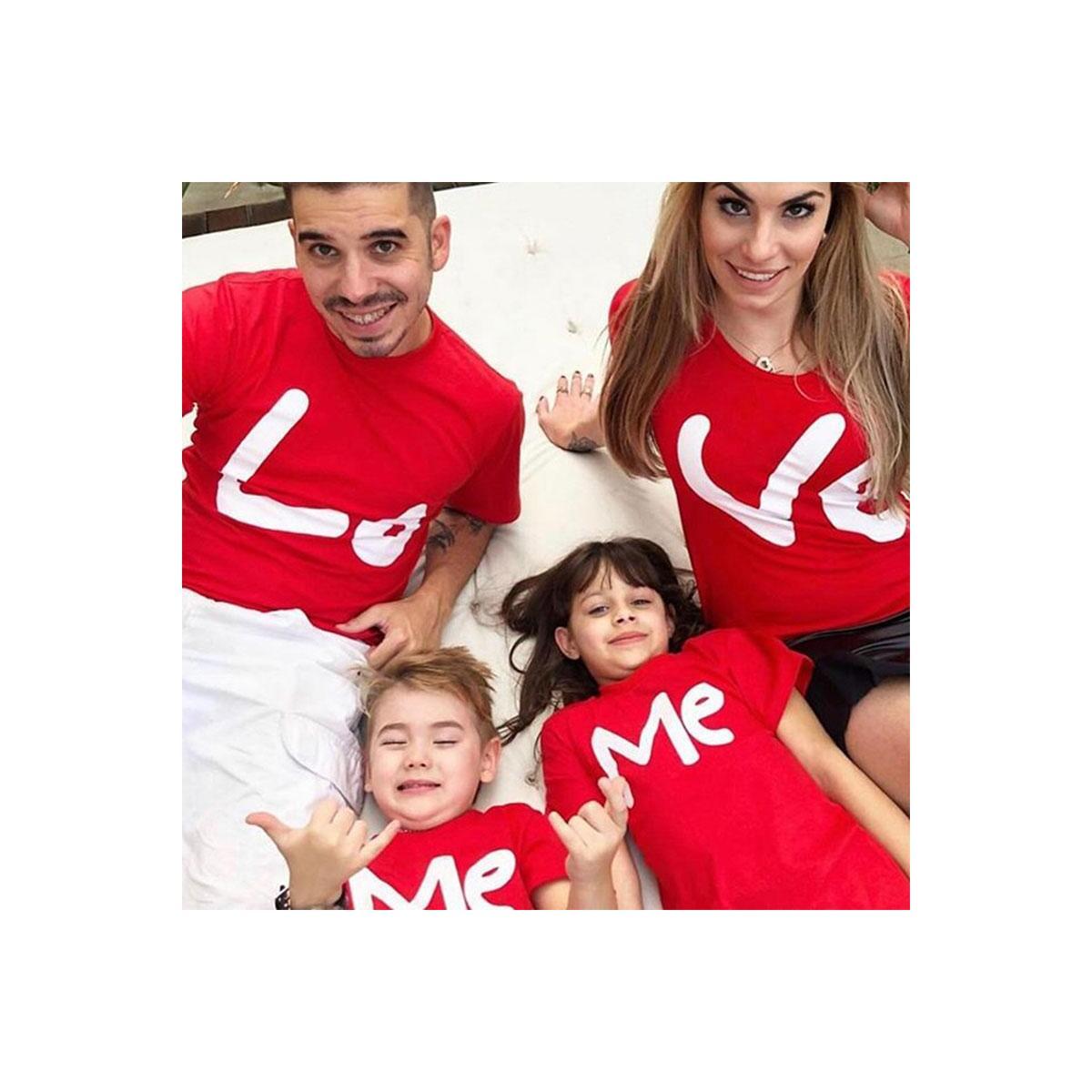 LOVE Matching Family Shirts, White Black / mother S (1PCS)