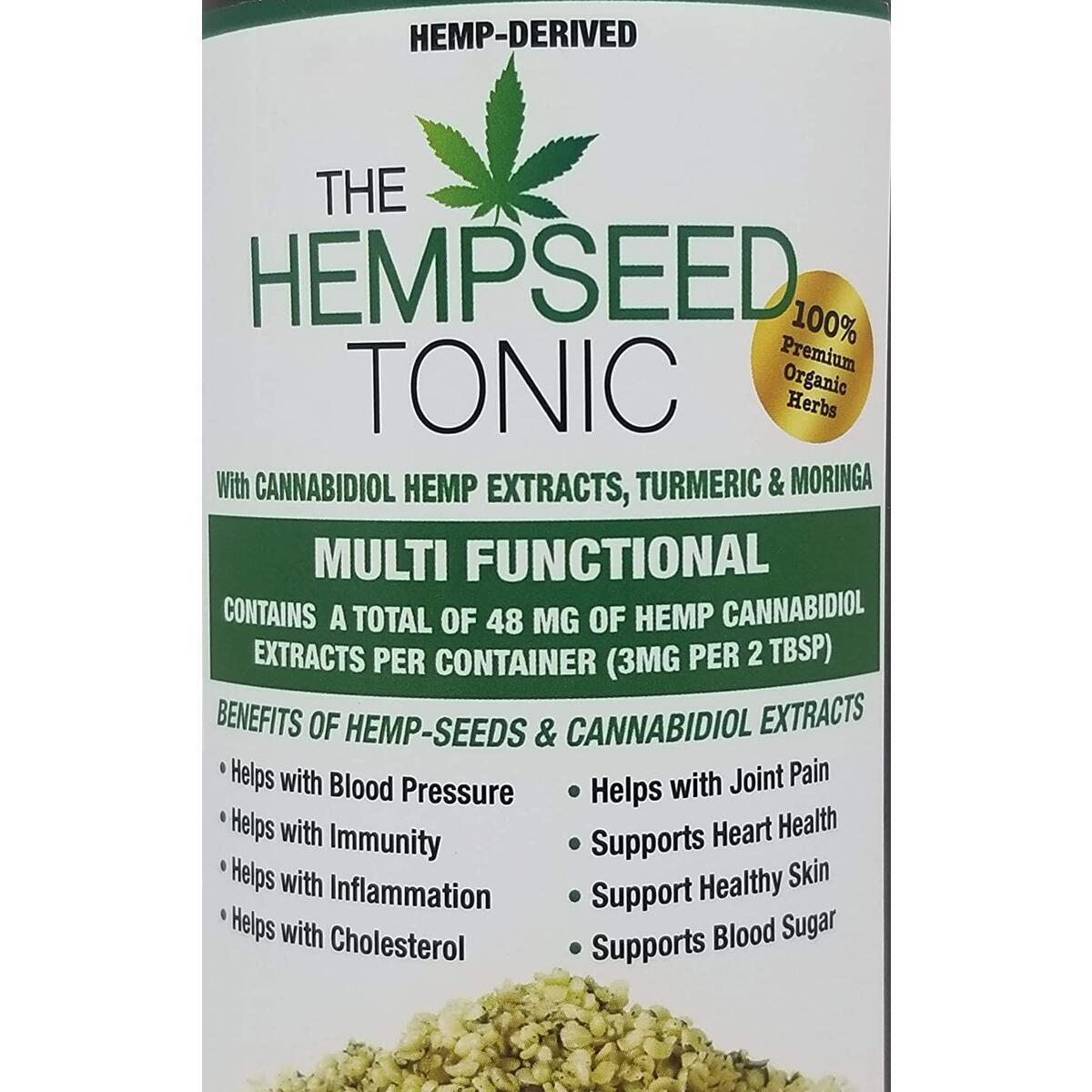 Organic Hemp Seed Tonic with Moringa and Turmeric, 16 Ounces [Single Bottle]