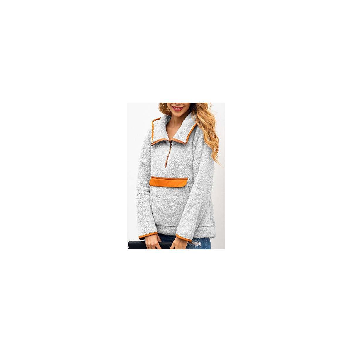 Women's Long Sleeve Lapel Hooded Fluffy Jacket Sherpa Pullover Haft Zipper Sweatshirt Fleece Outwear with Pocket