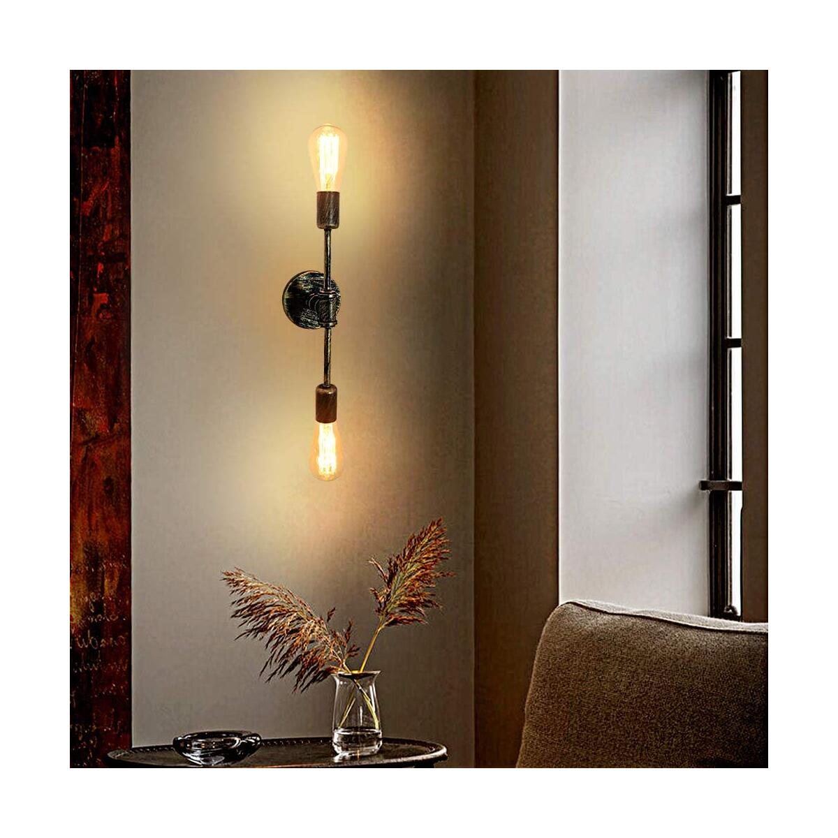 2-Light Wall Sconce Lighting Rustic Gold Bathroom Light Fixtures, Vintage Mid Century Wall Lamp Industrial Steampunk Pipe Sconce Light, Double Vanity Light for Bathroom Mirror Bedroom Hallway Entryway