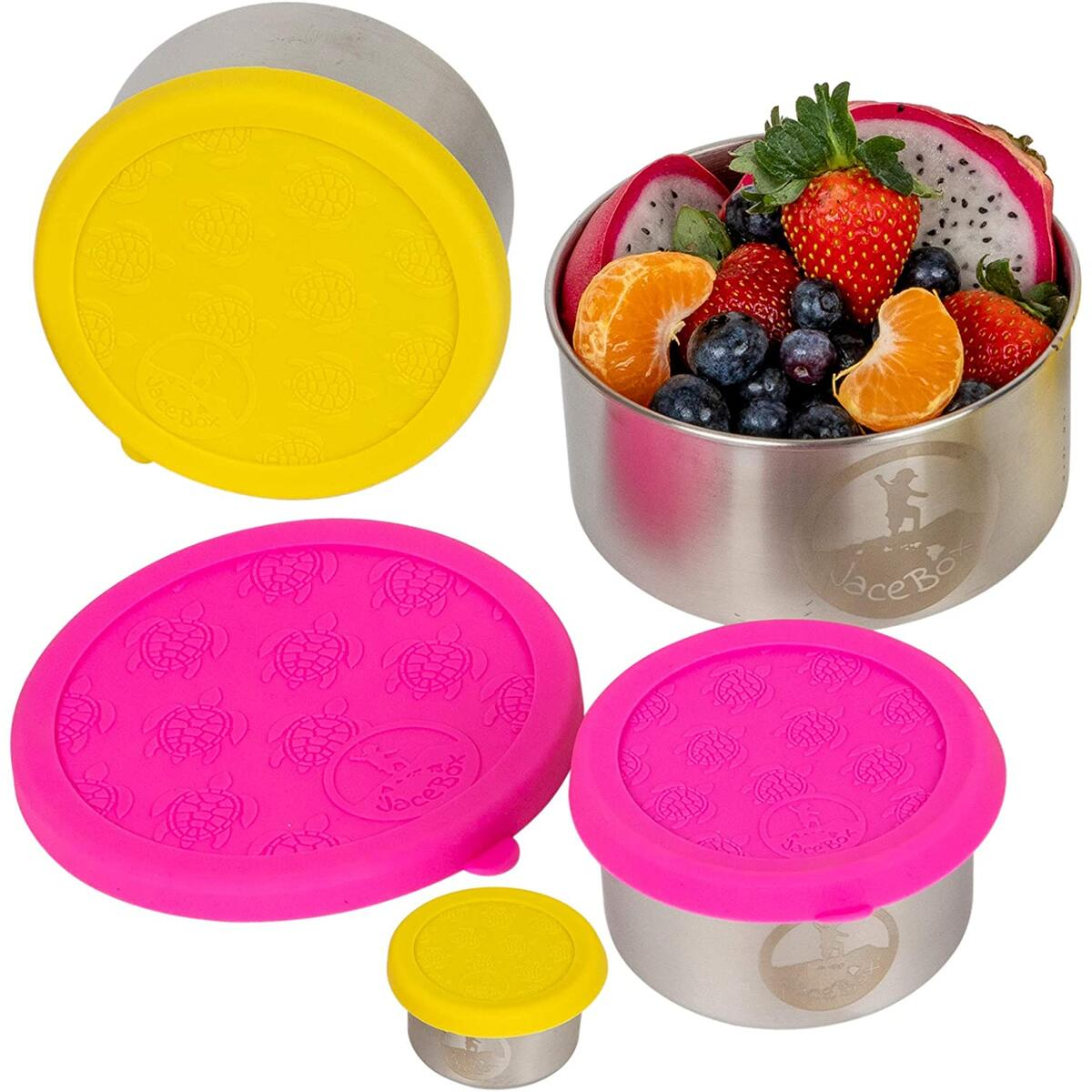 Snack Containers for Kids - Stainless Steel Food Containers Leakproof Plastic FREE Silicone Lid Turtle Design by JaceBox