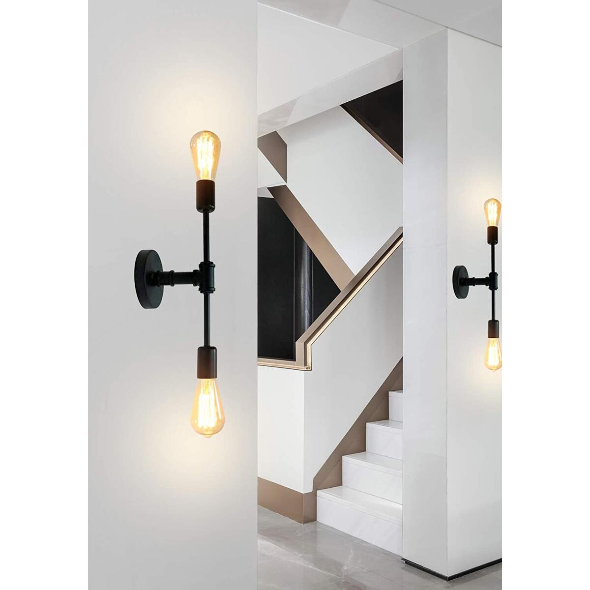 2-Light Wall Sconce Lighting Black Bathroom Light fixtures, Vintage Industrial Steampunk Pipe Sconce Light, Mid Century Wall Lamp Double Vanity Light for Bathroom Mirror Bedroom Hallway Entryway