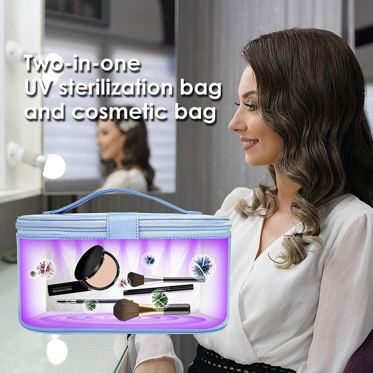 Cahot UV Sterilizer Bag with 8 UV-C LED Lights, Large UV Sanitizer Box for Cell Phone, Wallet, Bottle, Toys, Beauty Tools and Clothes, Portable UV Light Travel Makeup Bag (Sky Blue)