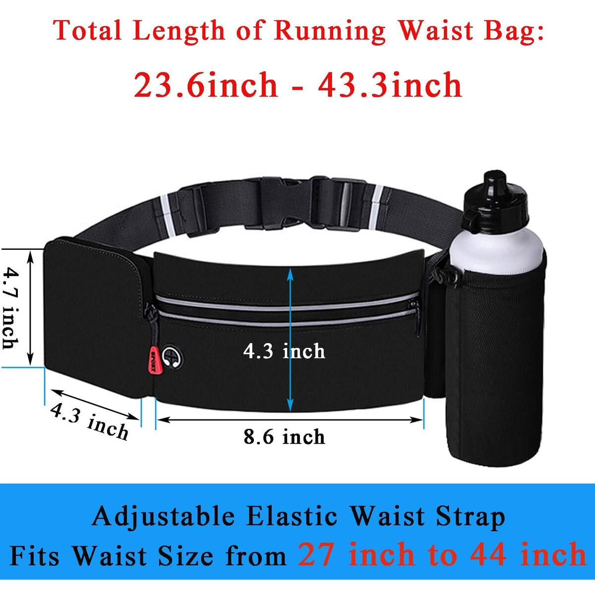 Wesoke Running Belt Bag Fanny Pack, Adjustable Waist Strap Water Resistant Reflective Strip No-Bounce with Foldable Water Bottle Holder(Bottles NOT Included), Phone Holder Fits All Phones (Black)