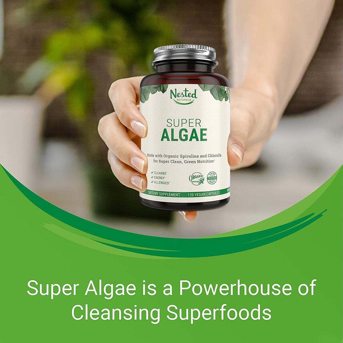 Nested Naturals Super Algae Powder 500mg | Certified Organic & Vegan Blue Green Algae Capsules | 50/50 Spirulina + Chlorella Superfood Algae Powder