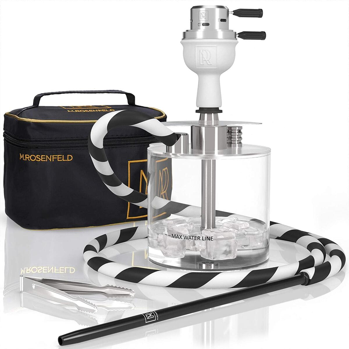 Stainless Steel Portable Hookah Set - New Premium Lightweight Mini Hookah to Go with ONE Coal HMD and White Clay Bowl - Hookah Shisha Stable - Hookah Complete Set with Bag.