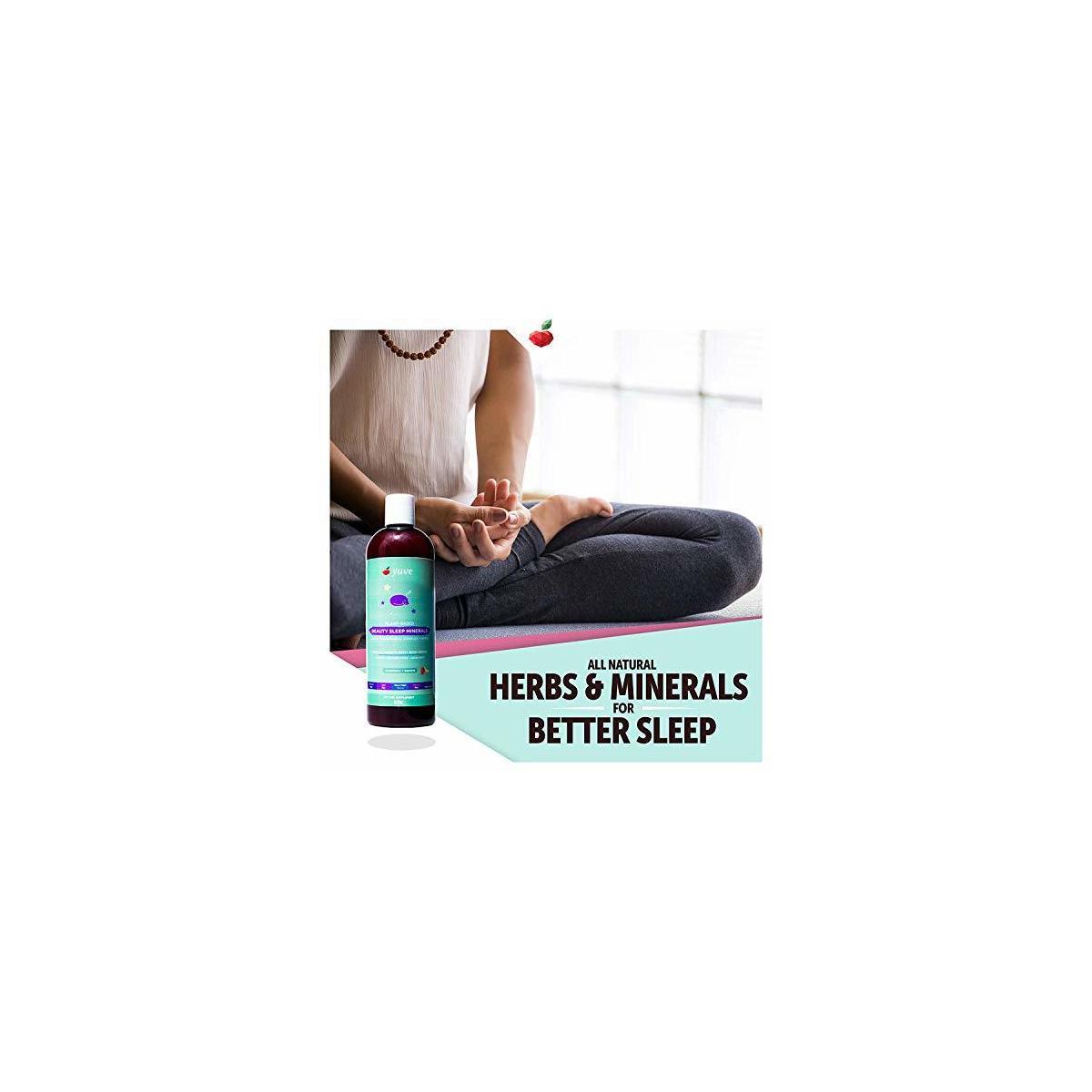Yuve Liquid Natural Sleep Aid Multimineral - Complete Mineral Herbal Complex (Valerian Root, Magnesium, Calcium) - Non-Habit Forming Vegan Vitamins for Sleeping - Non-GMO, Melatonin & Sugar Free 16oz