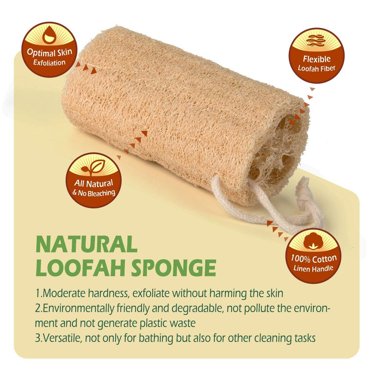 Shower Loofah Exfoliating Luffa Bath Sponge, No Bleaching Natural Shower Loofah Body Wash Scrubbers for Removing Dead Skin - 6 Packs