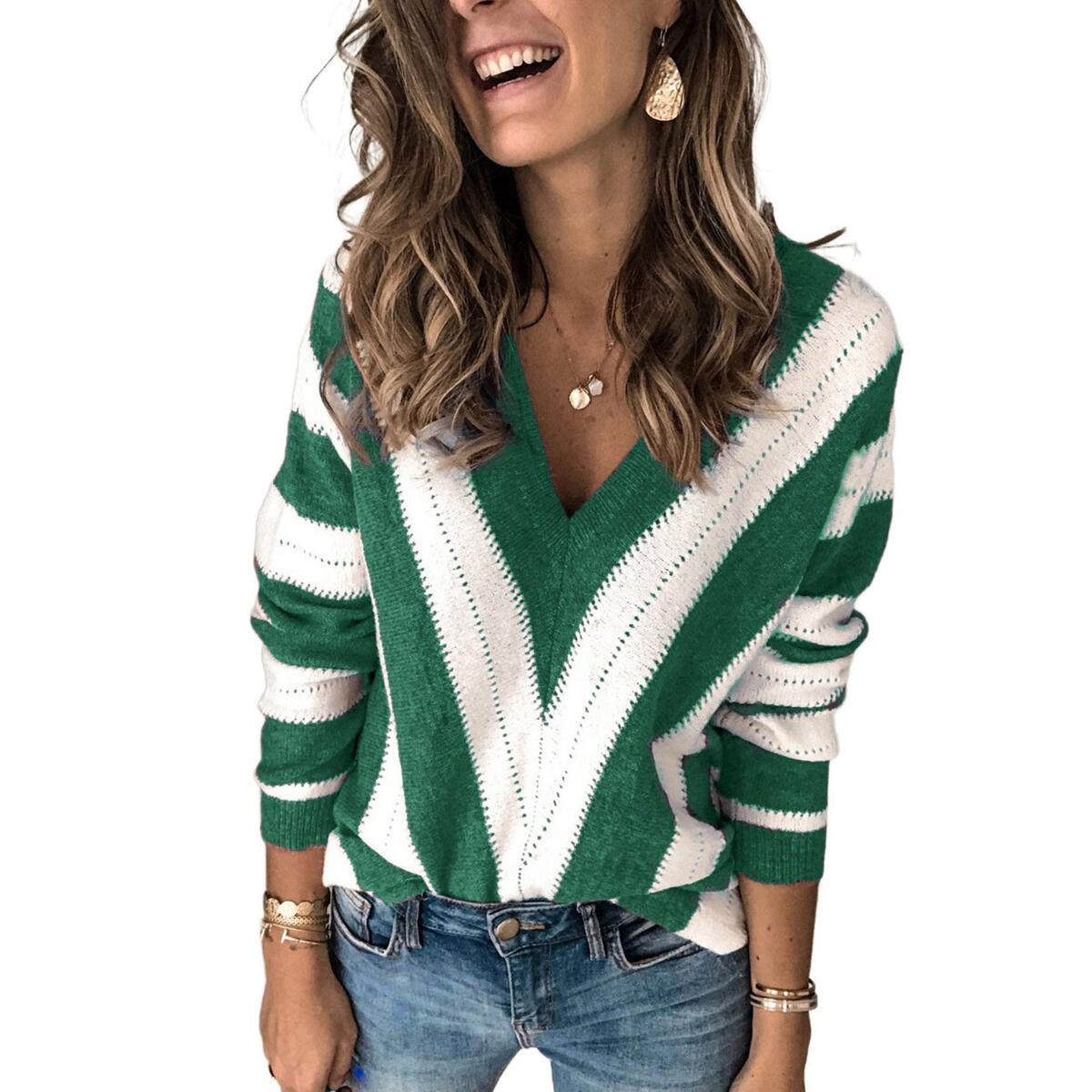 Striped Colorblock V Neck Knitted Sweater, Green / XL