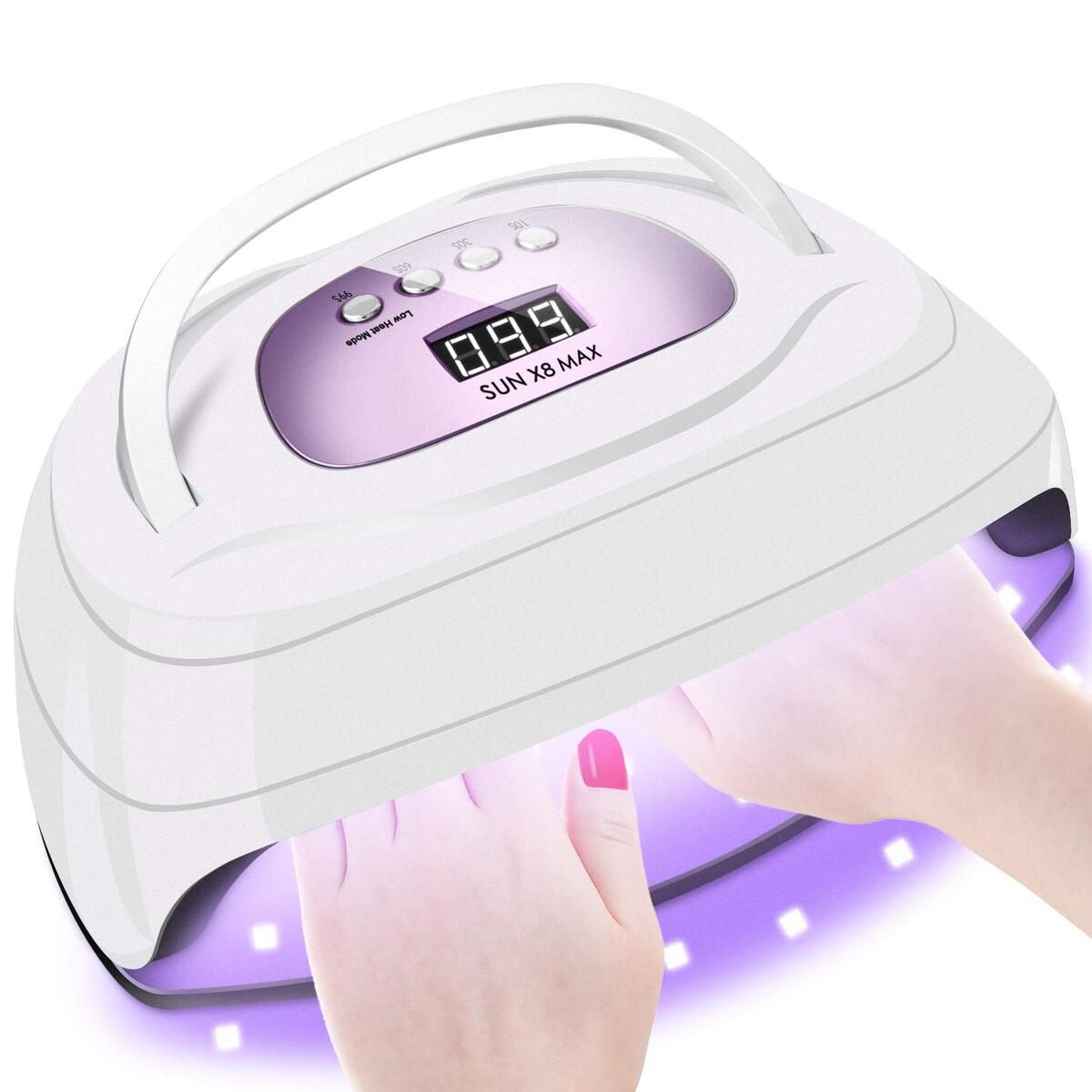 150W UV LED Nail Lamp for Gel Polish,Fast LED UV Dryer Nail Curing Light with 57 Lamp Beads Auto Sensor,Profeesional Nail Art Salon Accessories with Portable Handle and Larger Space (Purple)