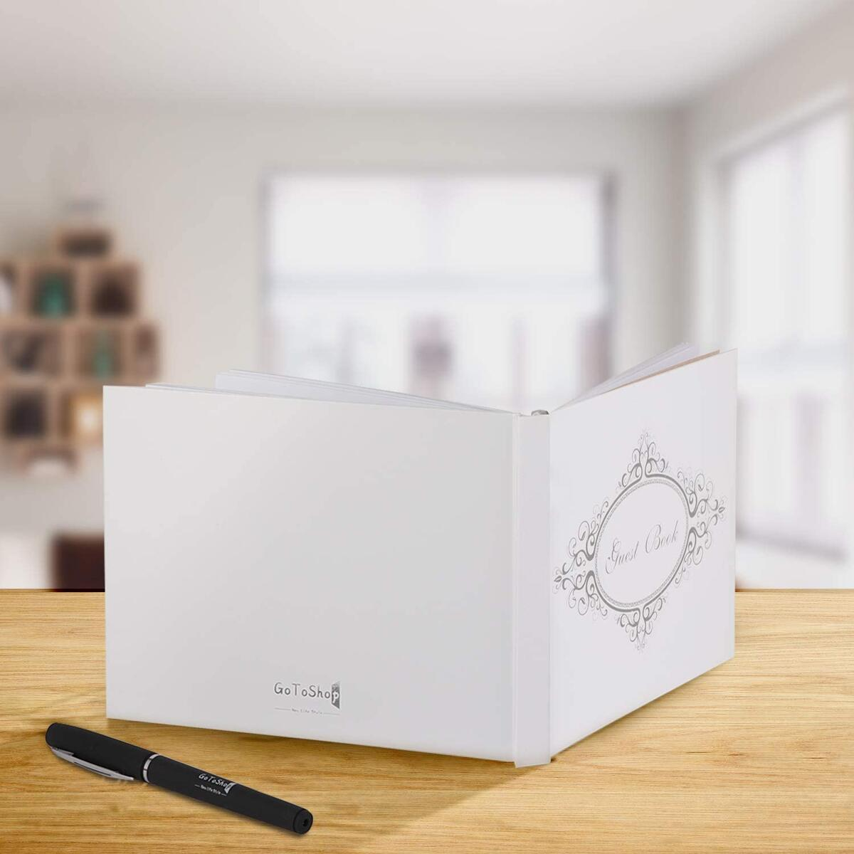 Wedding Guest Book with Pen Gift Box Set. 9''x6'' Rustic Polaroid Photo Signs for Any Special Occasion.
