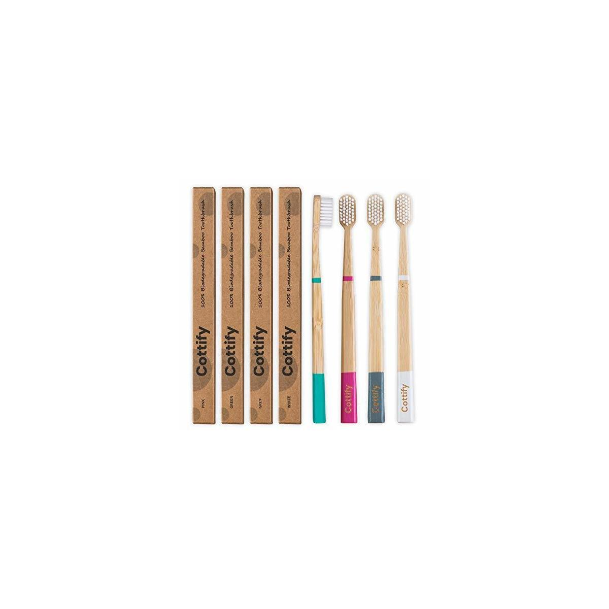 4 Pack of Premium Natural Organic Bamboo Toothbrush – BPA Free Soft Bristles | Biodegradable | Vegan | Organic | Eco Sustainable Wooden Tooth Brush | Functional | 4 colors (GREEN, WHITE, PINK, GREY)