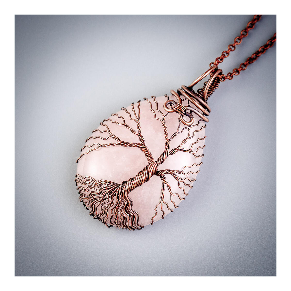 Natural rose quartz pendant necklace mom christmas gift