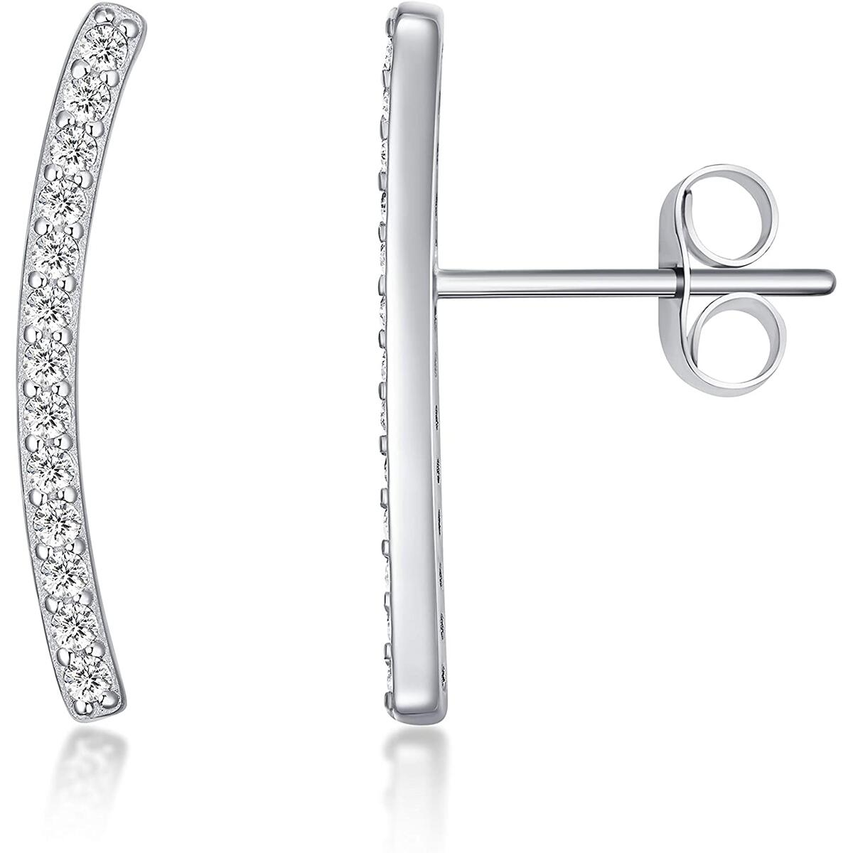 Sterling Silver - CZ Ear Crawler - Crawling Cuff Earrings - Climber Jackets - Stud Earrings - for Women perfect gift