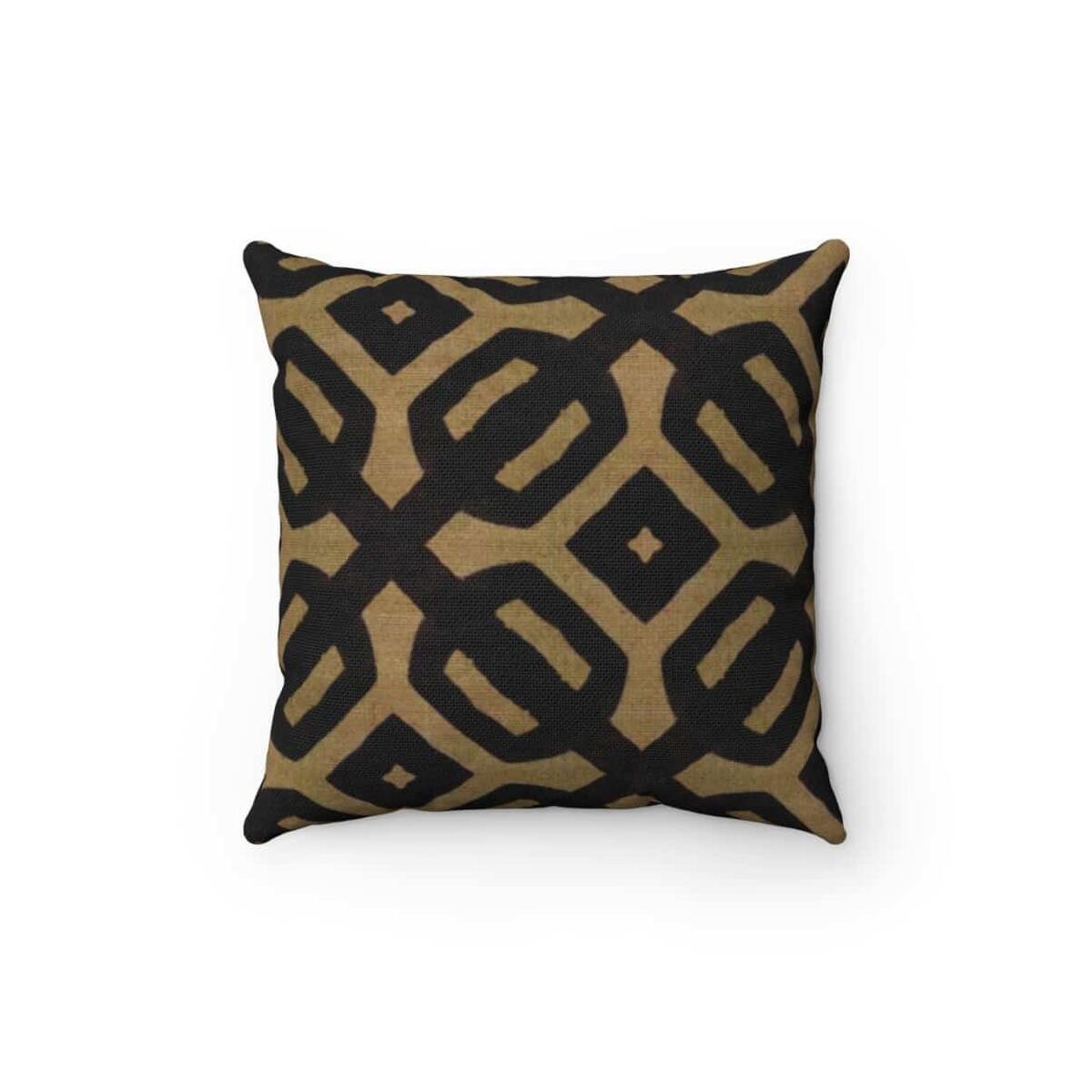 Brown Black Bogolan Spun Polyester Square Pillow