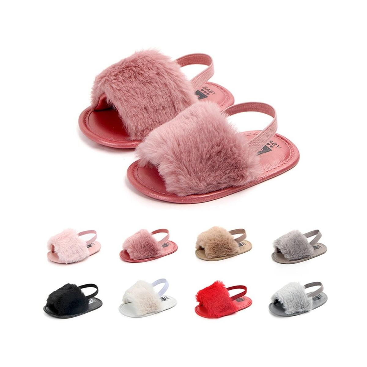 Baby Girls Sandals Faux Fur Slides Elastic Back Strap Flats Slippers Toddler Infant Shoes