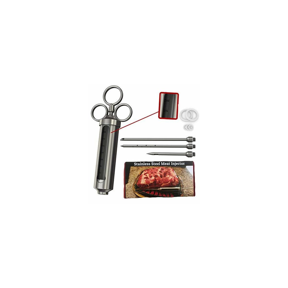 Meat Injector - 304 Stainless Steel 2.3-oz BBQ Injection Kit Marinade Seasoning Window for Cooking Grill Smoker Barbecue - Syringe Injects Cajun Flavor in Chicken Turkey Beef - 3 Professional Needles