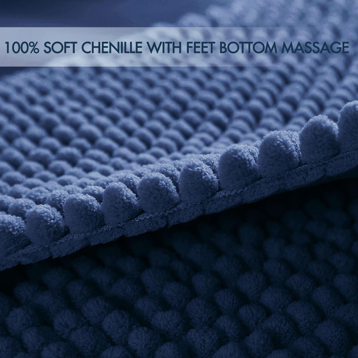 JTdiffer Premium Chenille Bath Mat, Luxury Original Bathroom Rug Carpet, Non Slip Super Absorbent Water, Extra Soft Shaggy Bath Rugs for Tub, Shower, Bath Room, Bedroom, Kitchen, Sink (21x32, Blue)