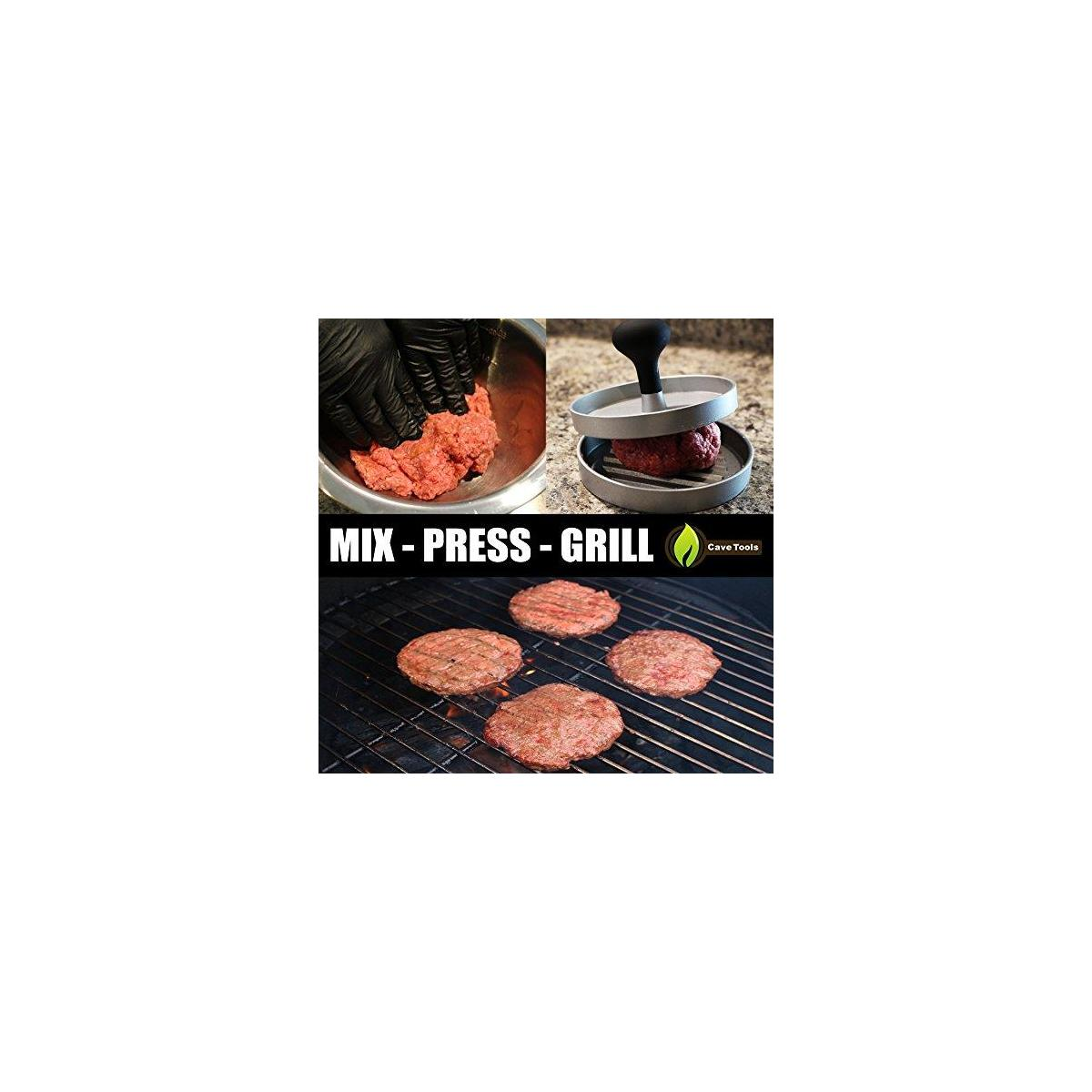 Burger Press + BBQ Grill Brush - New & Improved 100% Rust Proof Design - Stainless Steel Wire Bristle with Strength Clip for Cleaning Char Broil Weber Porcelain and Infrared Barbecue Grates