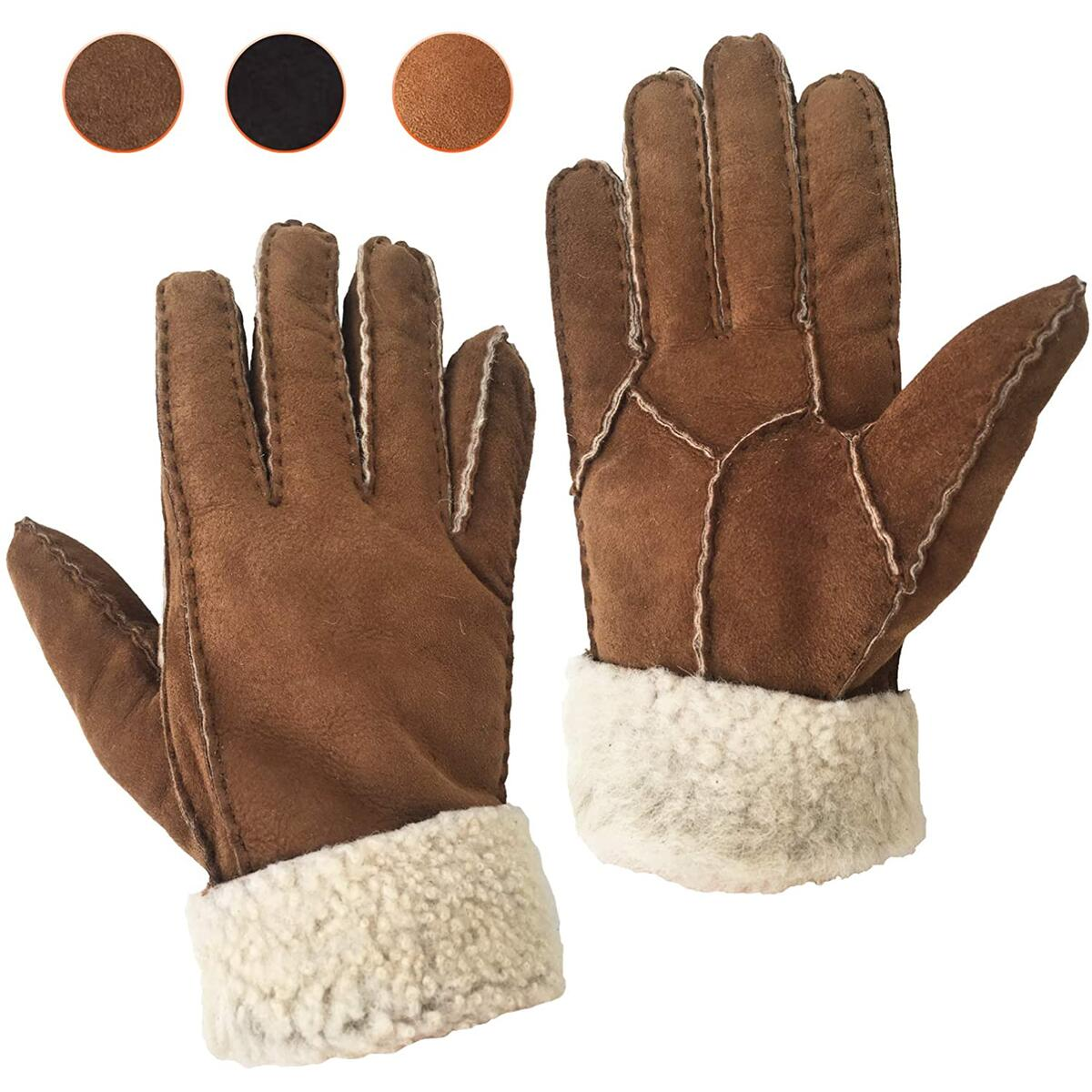 Genuine Shearling Sheepskin Fur Lined Leather Gloves | Winter Gloves for Women | Cold Weather Work, Driving Womans Glove
