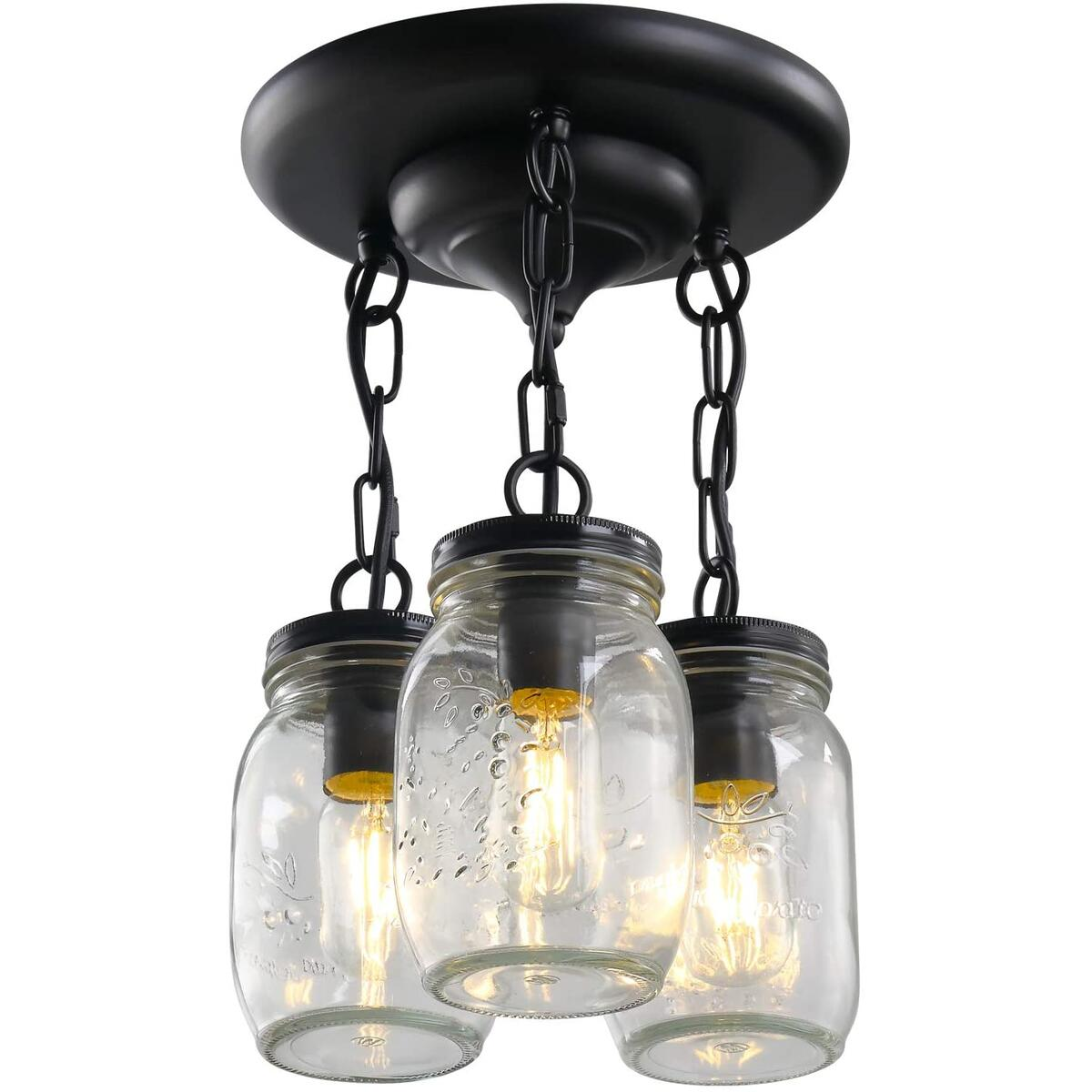 3-Light Mason Jar Light Fixtures for Kitchen, Glass Dining Room Lighting Fixtures Hanging Pandent Light Rustic Chandelier, Farmhouse Ceiling Light for Hallway Entryway