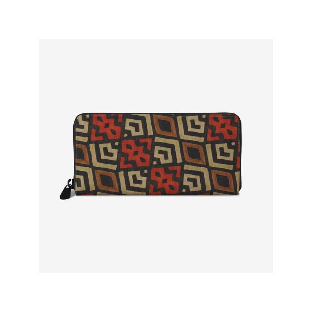 Bogolan Mystic Red premium PU Leather Wallet, White