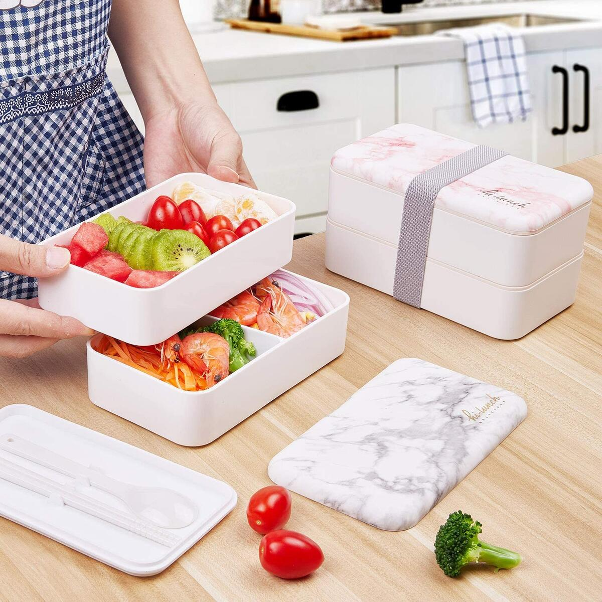 Stackable Bento Lunch Box Container - All-in-One Sleek and Modern Bento-Style Design Includes 2 Stackable Containers, Built-in Plastic Utensil Set, Microwave and Dishwasher Safe,Easy Wash(White)