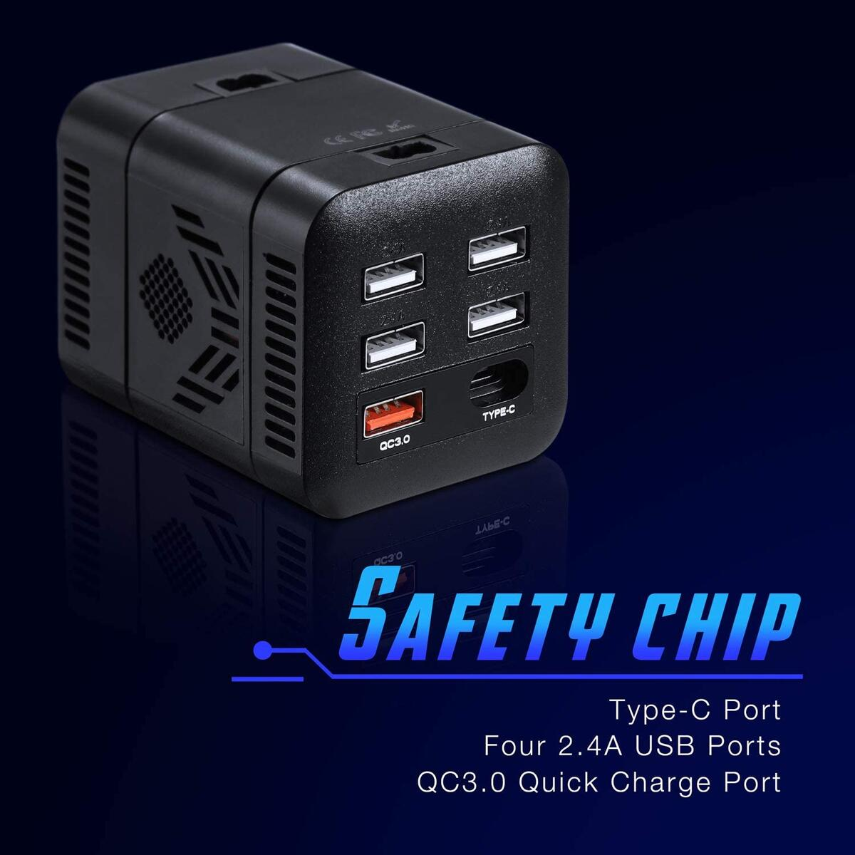 2020 Upgraded 150W Power Inverter Truck/RV Inverter 12V DC to 110V AC Converter with 4 AC Outlets 2.4A USB+QC 3.0+Type C Ports Modified Wave Inverter