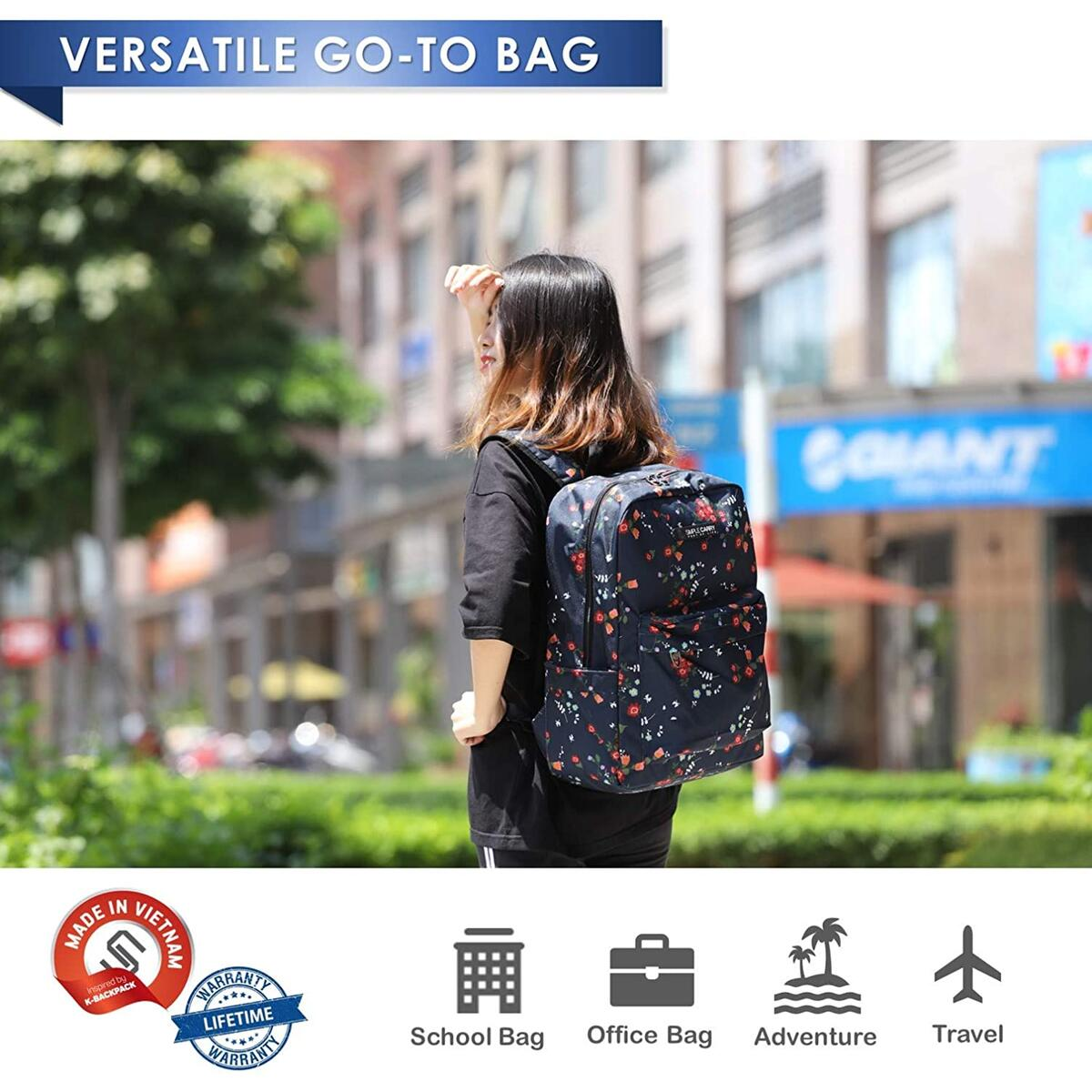 SimpleCarry Floral College School Campus Carry on Backpack Lightweight Water Resistant Casual Daypack Bag (Blue)