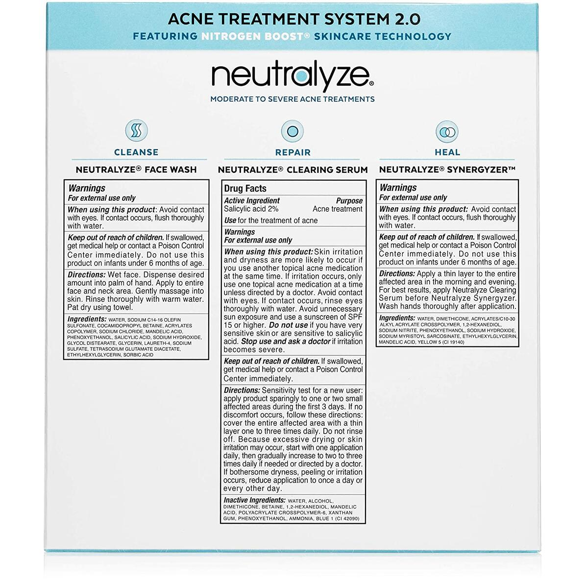 Neutralyze Moderate To Severe Acne Treatment Kit 2.0 | Maximum Strength Acne Treatment System Includes Face Wash, Clearing Serum, Synergyzer + Nitrogen Boost Skincare Technology (60 Day)