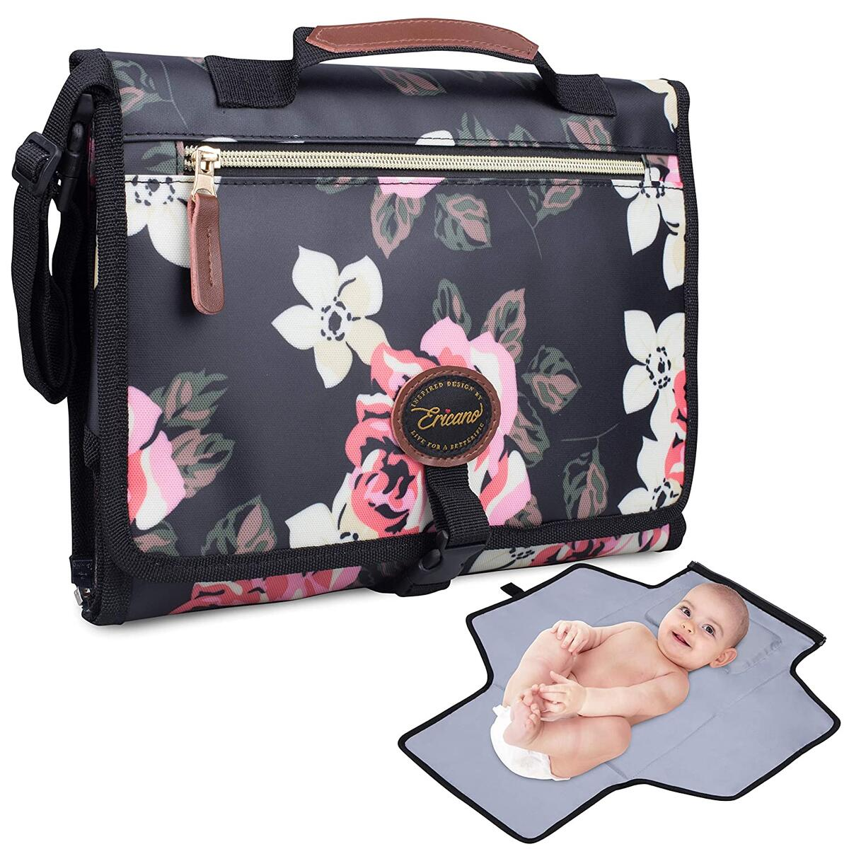 Portable Diaper Changing Pad Built-In Cushion Pillow - Foldable Clutch Bag Travel Changing Mat with Removable Pockets - Black Pink Floral