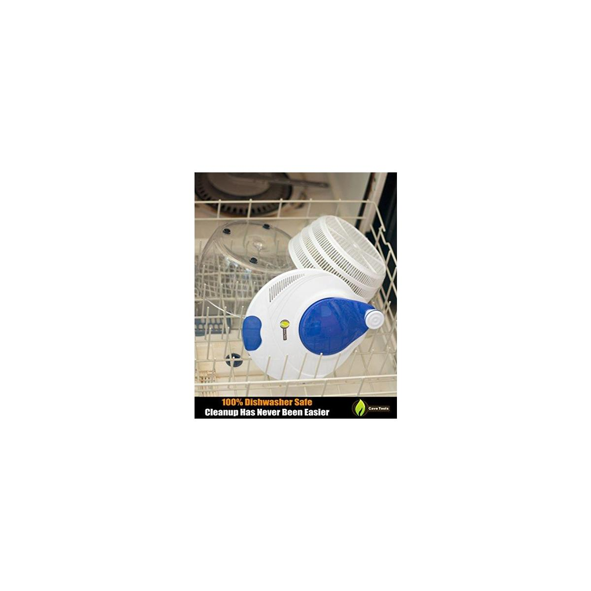 Vegetable Grill Basket + Salad Spinner Large Serving Bowl Set - Quick Dry Design & Dishwasher Safe - BPA Free Plastic Base - No Pump Pull String or Cord Needed, Turn Knob Drys Fruits & Veggies Fast