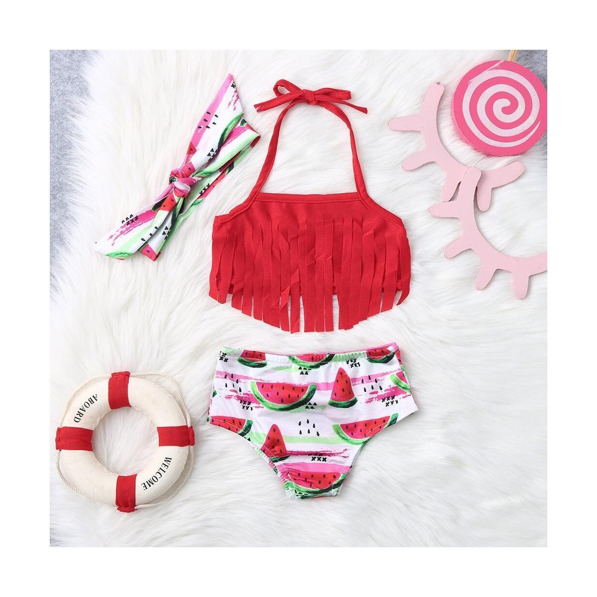 Baby Girl Tassel Halter Tops Watermelon Shorts 2Pcs Summer Swimsuit Hairband Bikini Beachwear