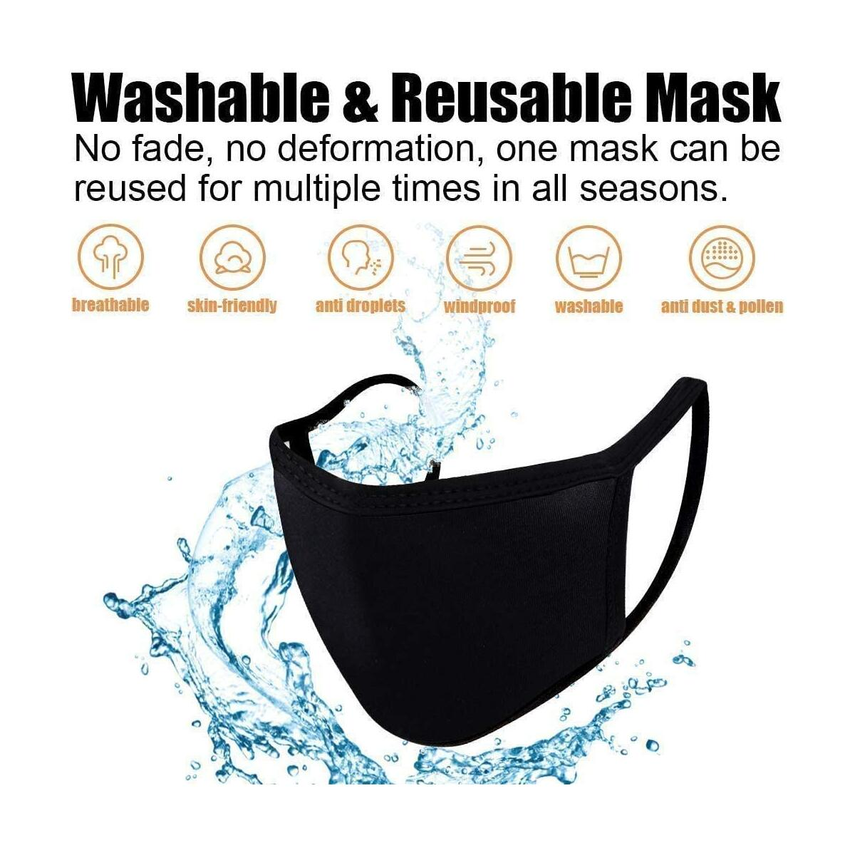 HomeEquip {SHIP FROM USA} Set 10 Cotton Unisex Reusable Dust_Masks Washable Face_Mask Fashion Cover Anti-dust Mouth Face Protect Cover Bandana Balaclavas (Black)