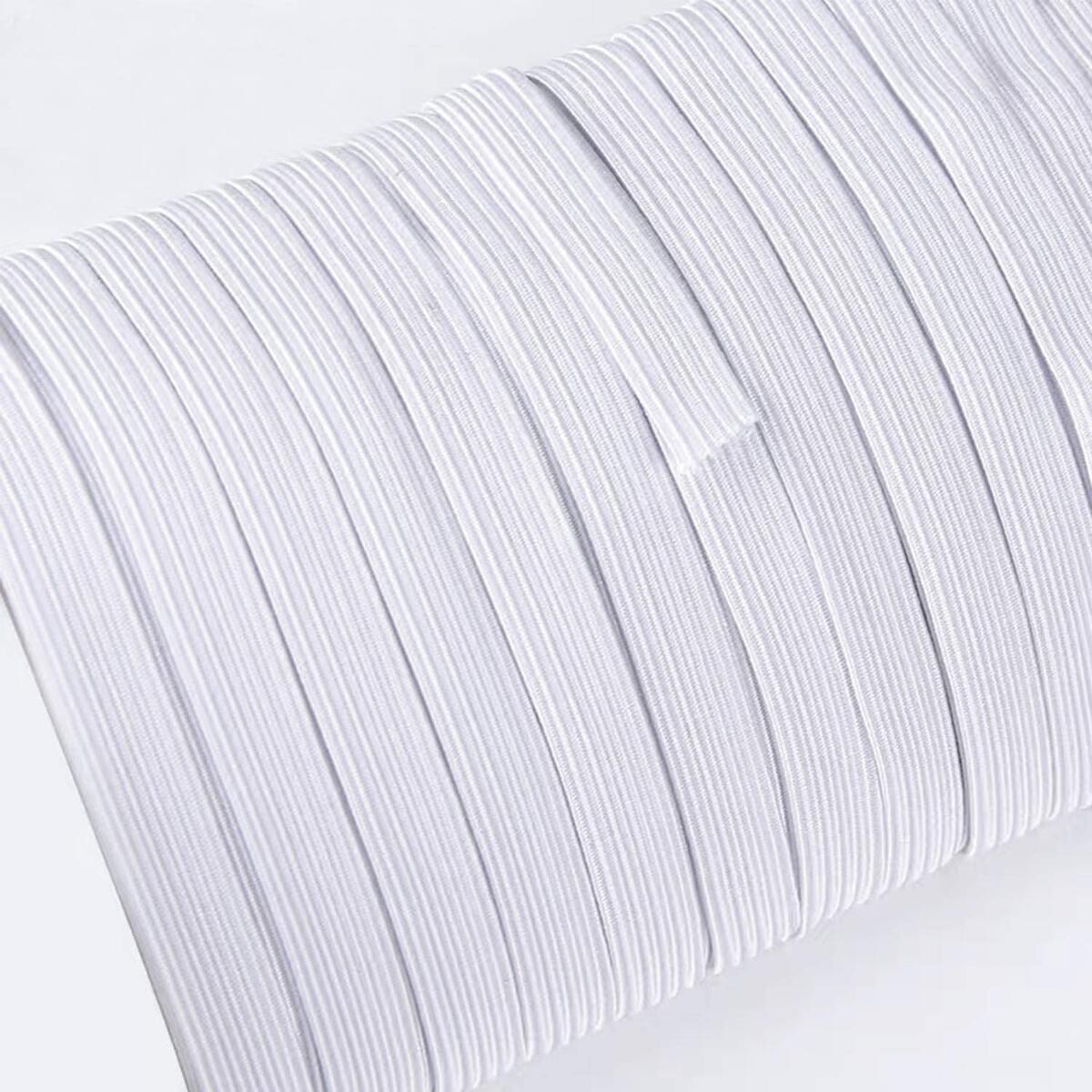 Elastic Bands for Sewing 1/4 inch (6mm) Stretch High Elasticity Elastic String Cord for Masks (20 Yards, White) DIY