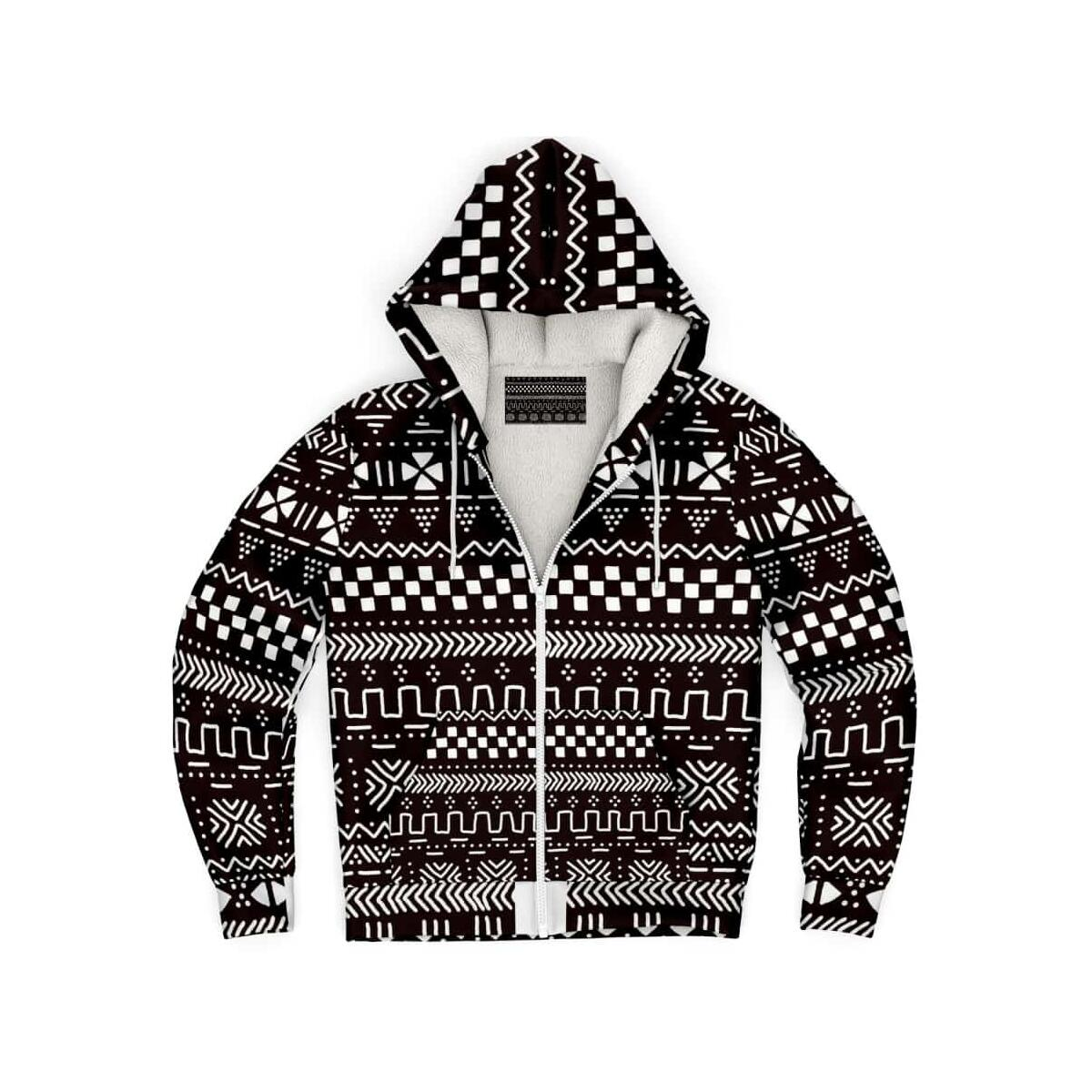 Tribal African Muth Cloth Microfleece Hoodie