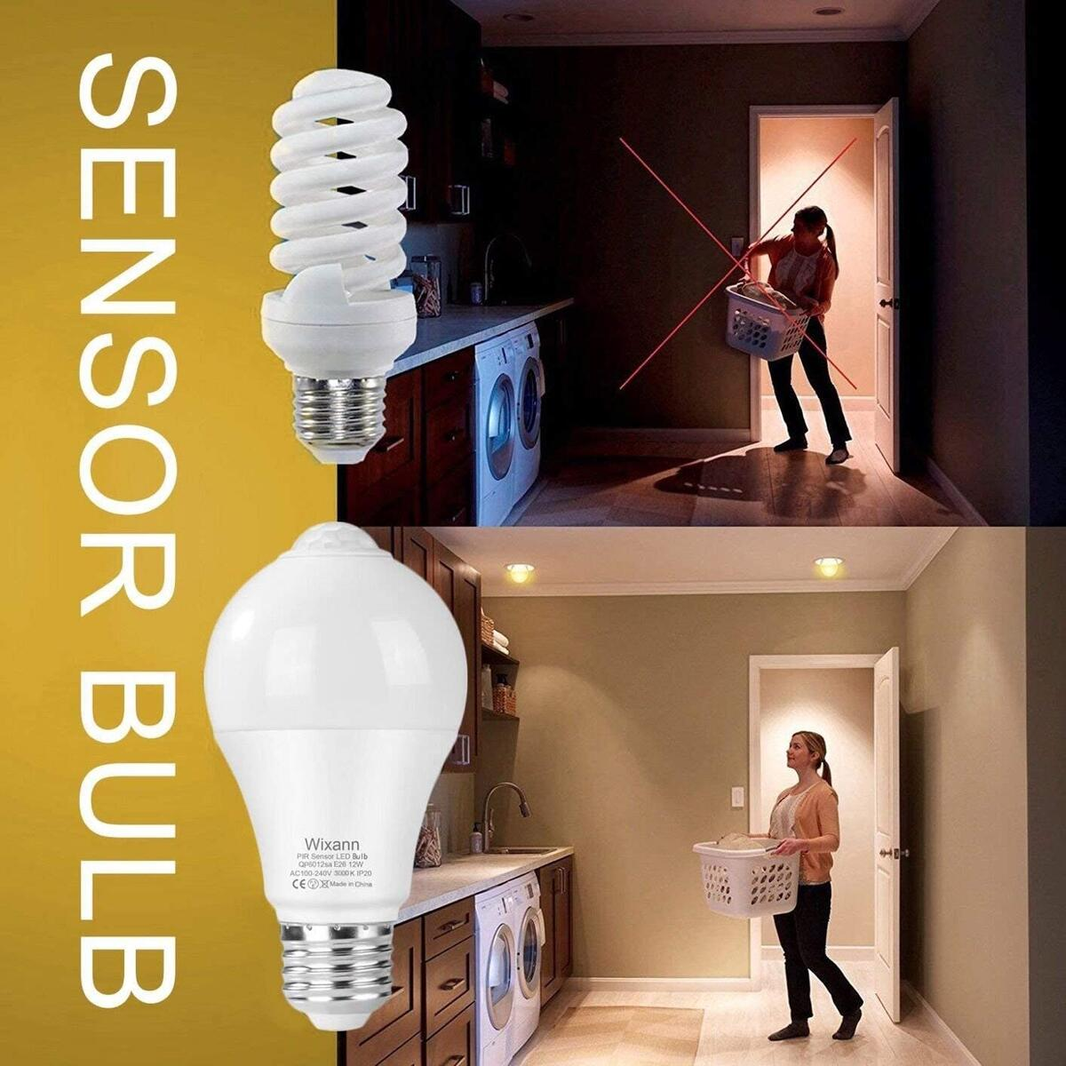 Smart Motion Sensor Light Bulbs, 3000K Warm White Built-in Motion Detector and Photocell Sensor, Automatic on/Off, Dusk to Dawn, A19/E26/120V/12W/1000lm for Porch Hallway Stairs Garage - 2Pack