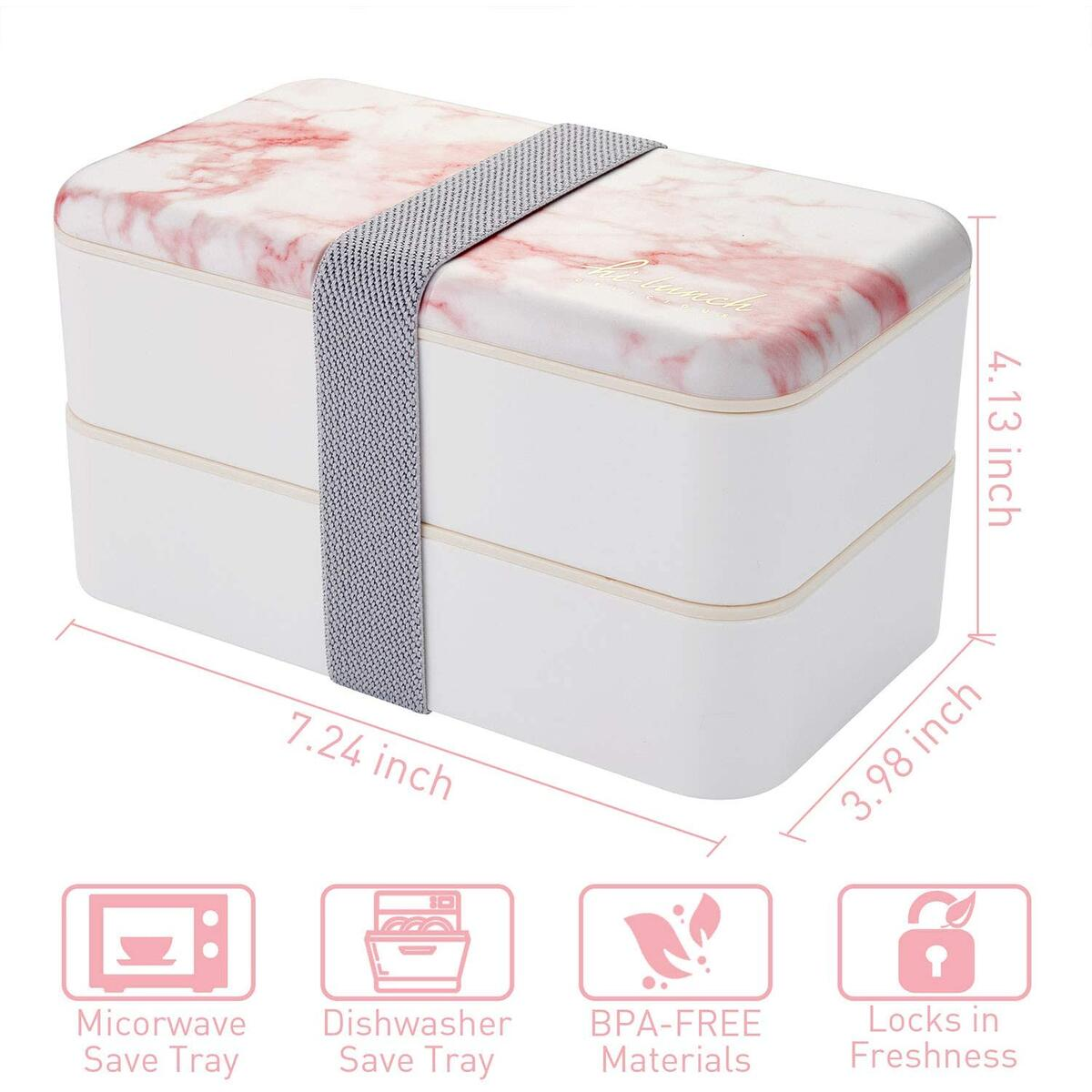 Japanese Bento Box, All-in-One Stackable Bento Lunch Box Container - Sleek and Modern Bento-Style Design Includes 2 Stackable Containers, Microwave and Dishwasher Safe, Easy Wash(Pink)